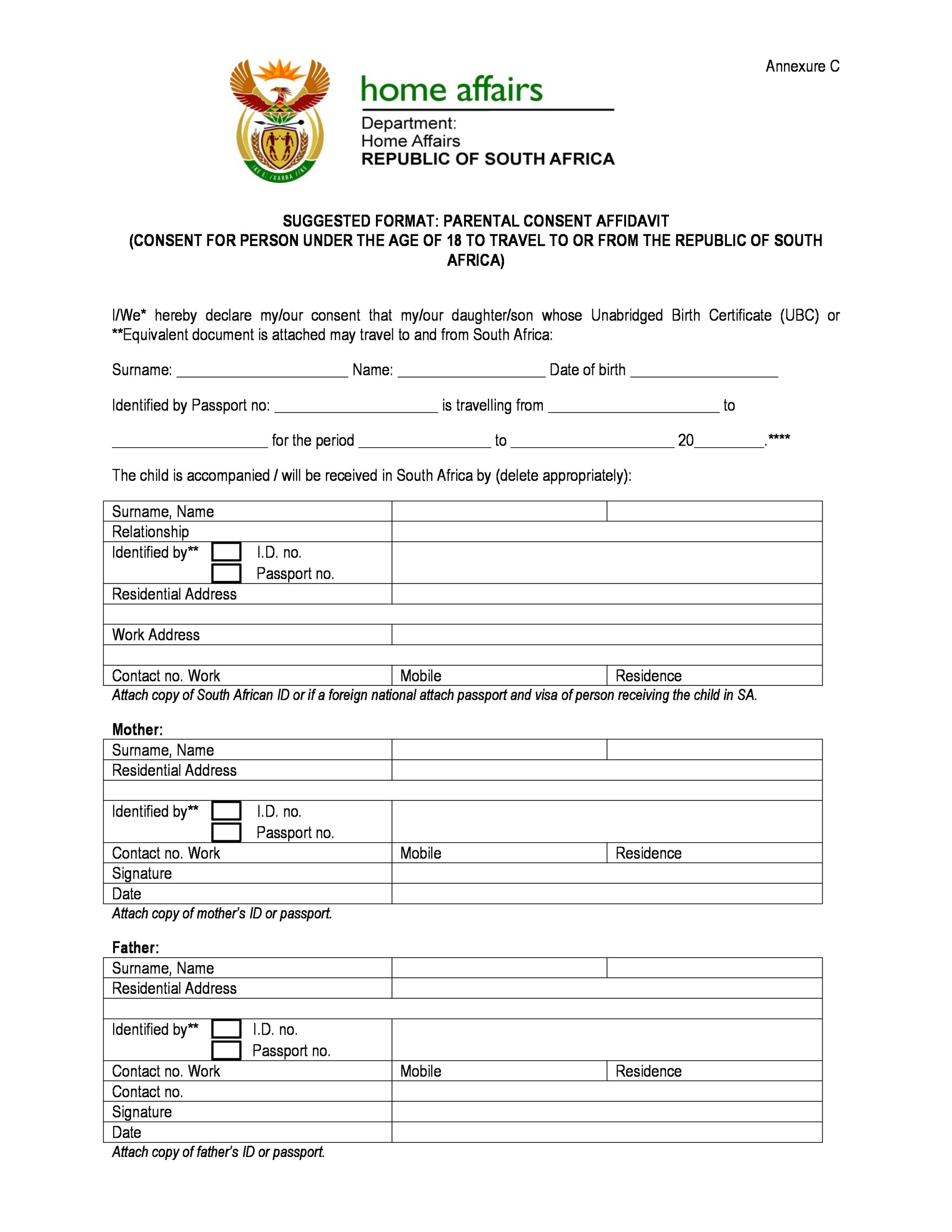 Free child travel consent form 22