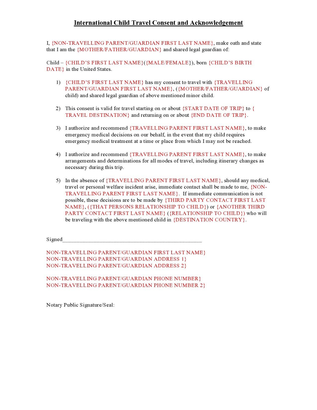 Free child travel consent form 27