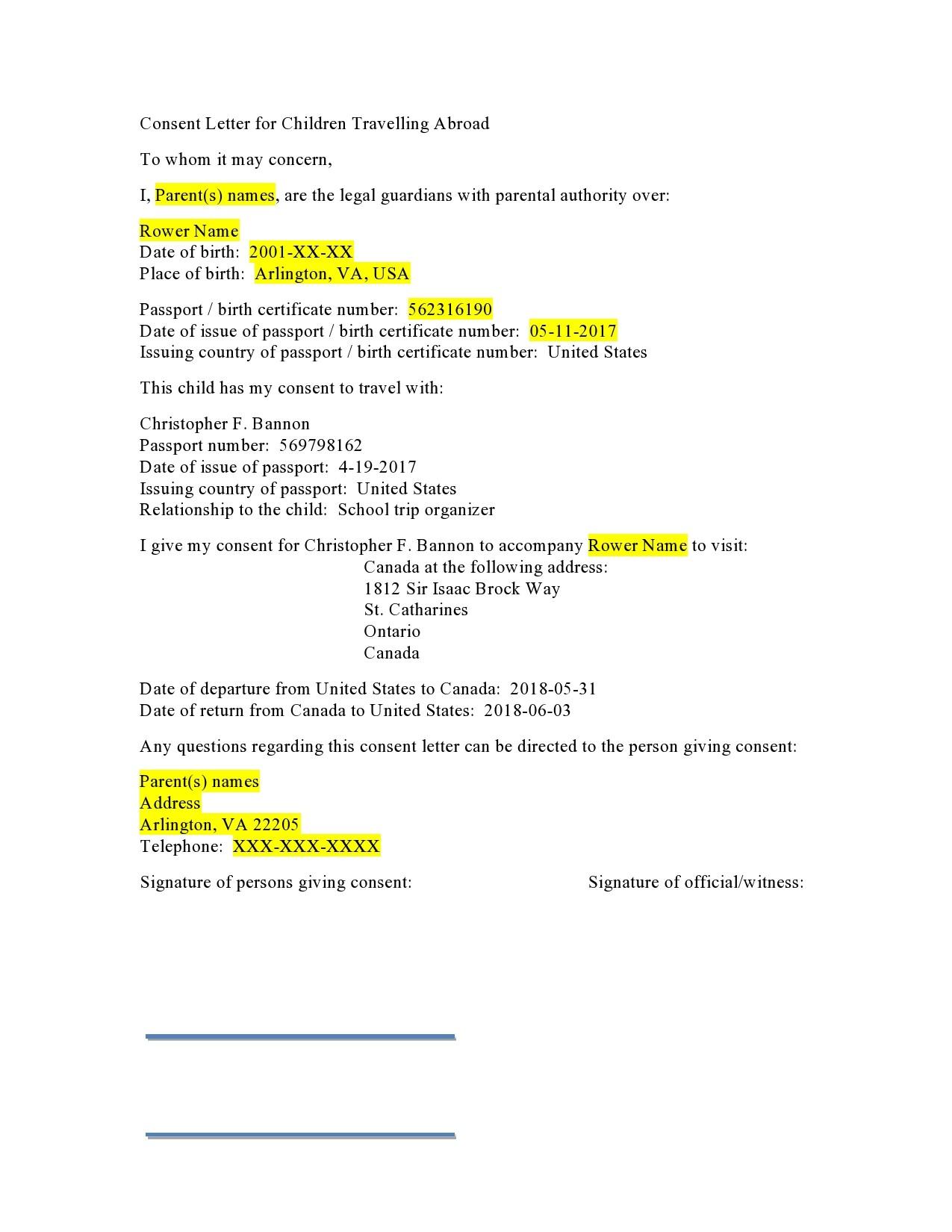 Free child travel consent form 28