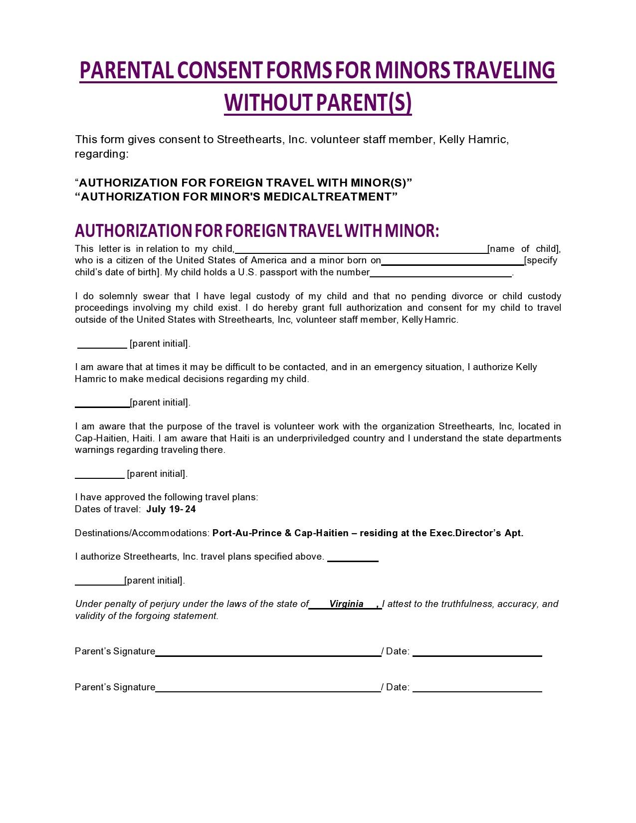 Free child travel consent form 30