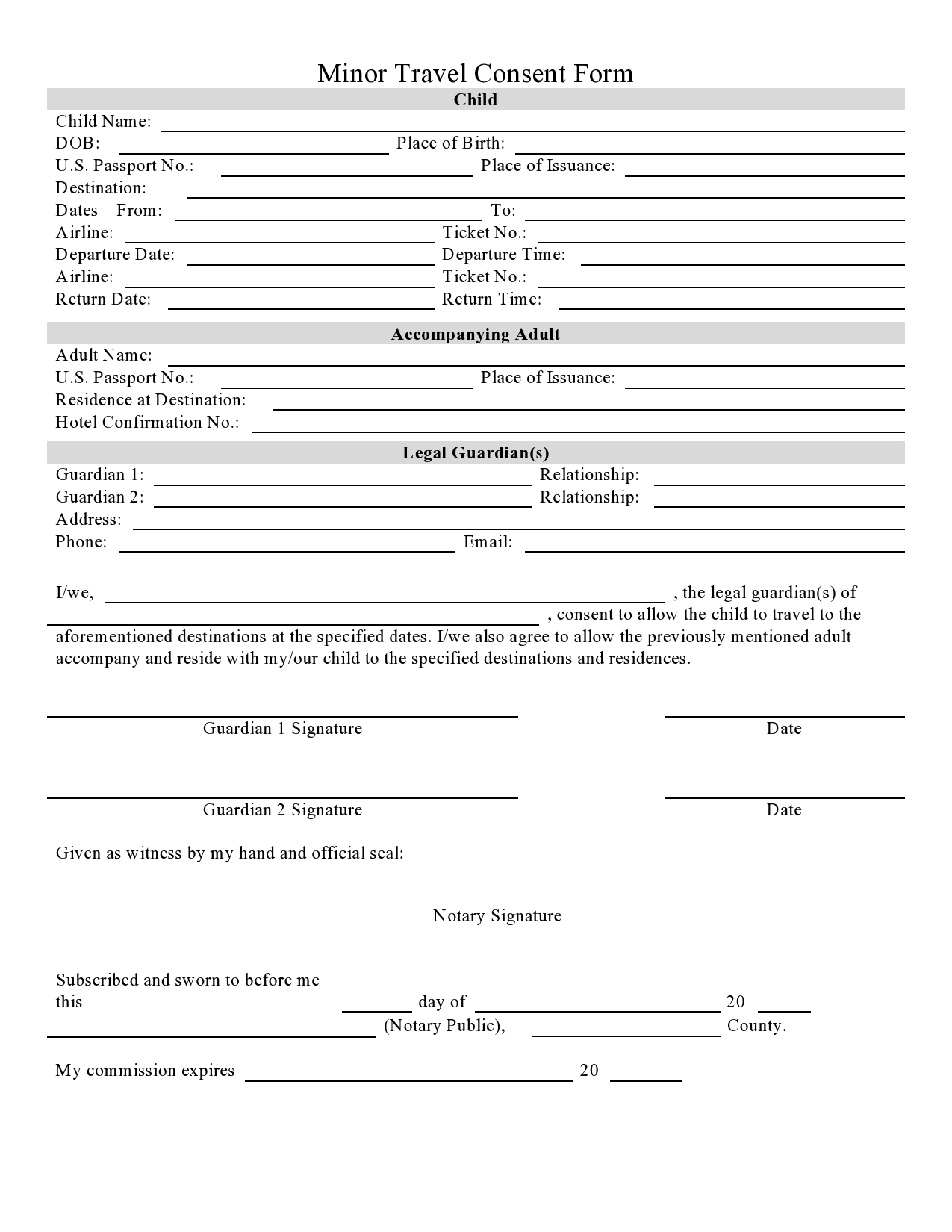 Free child travel consent form 33