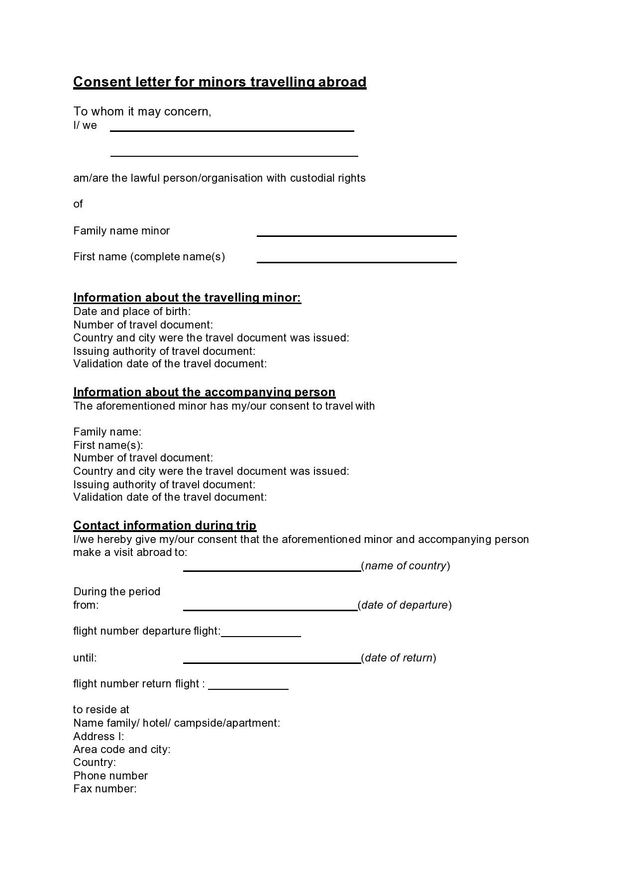 Free child travel consent form 34
