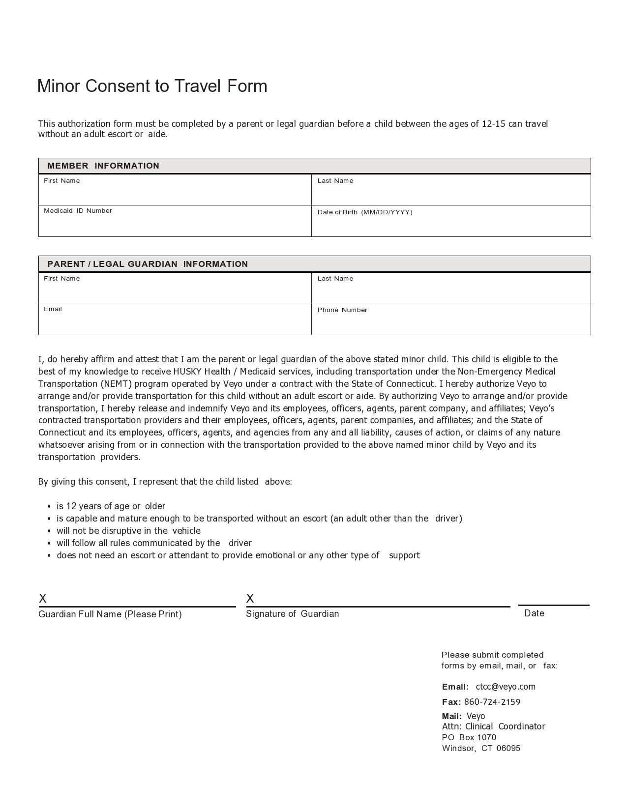 Free child travel consent form 35