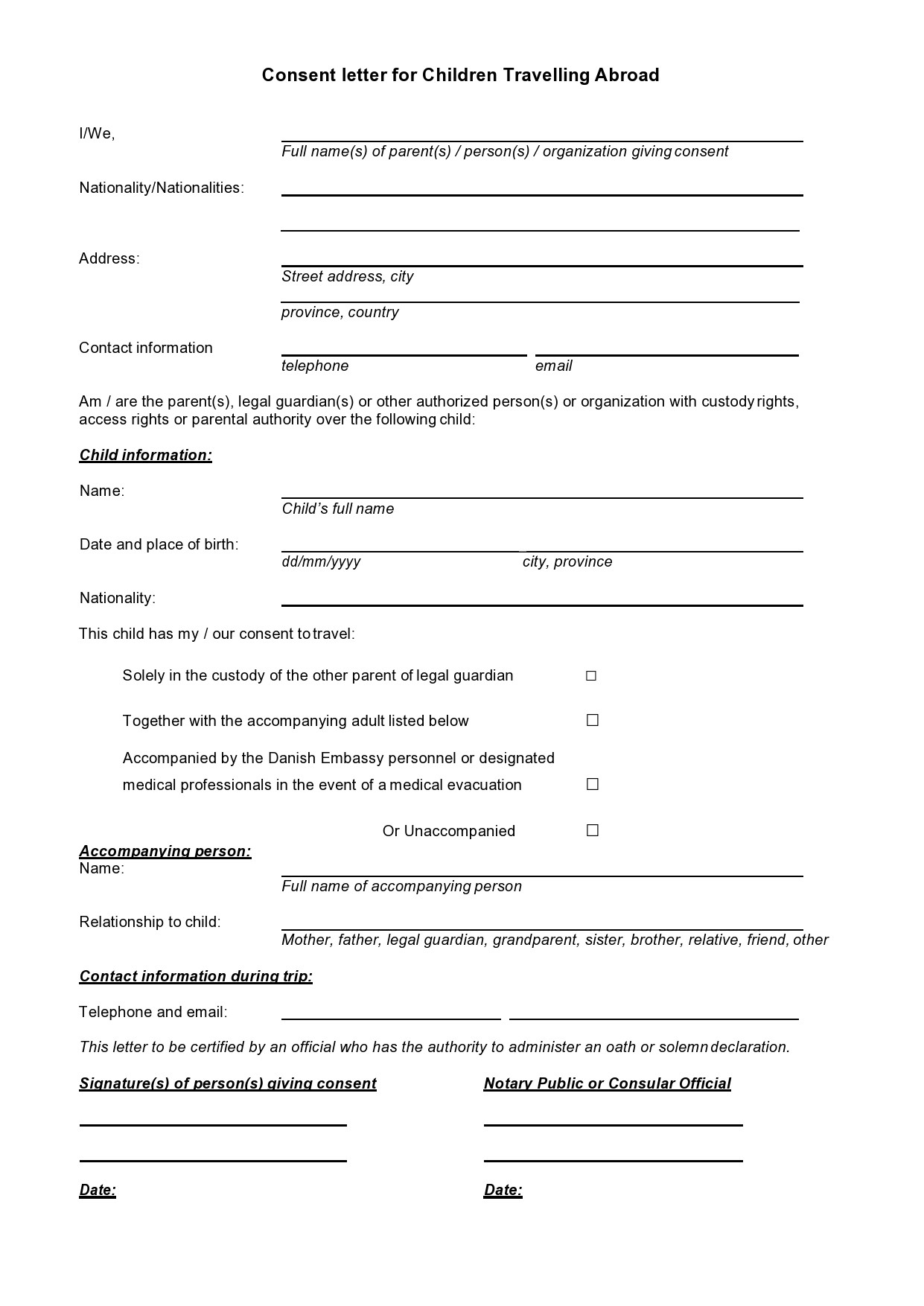 Free child travel consent form 37