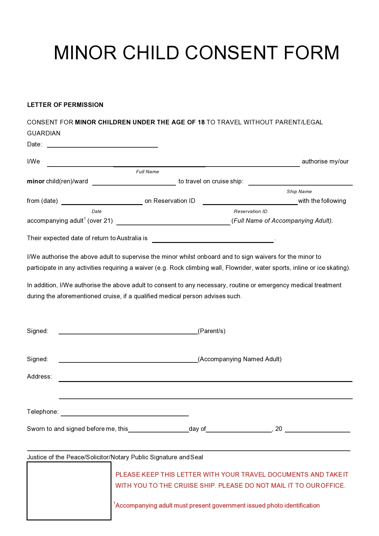 Free child travel consent form 44