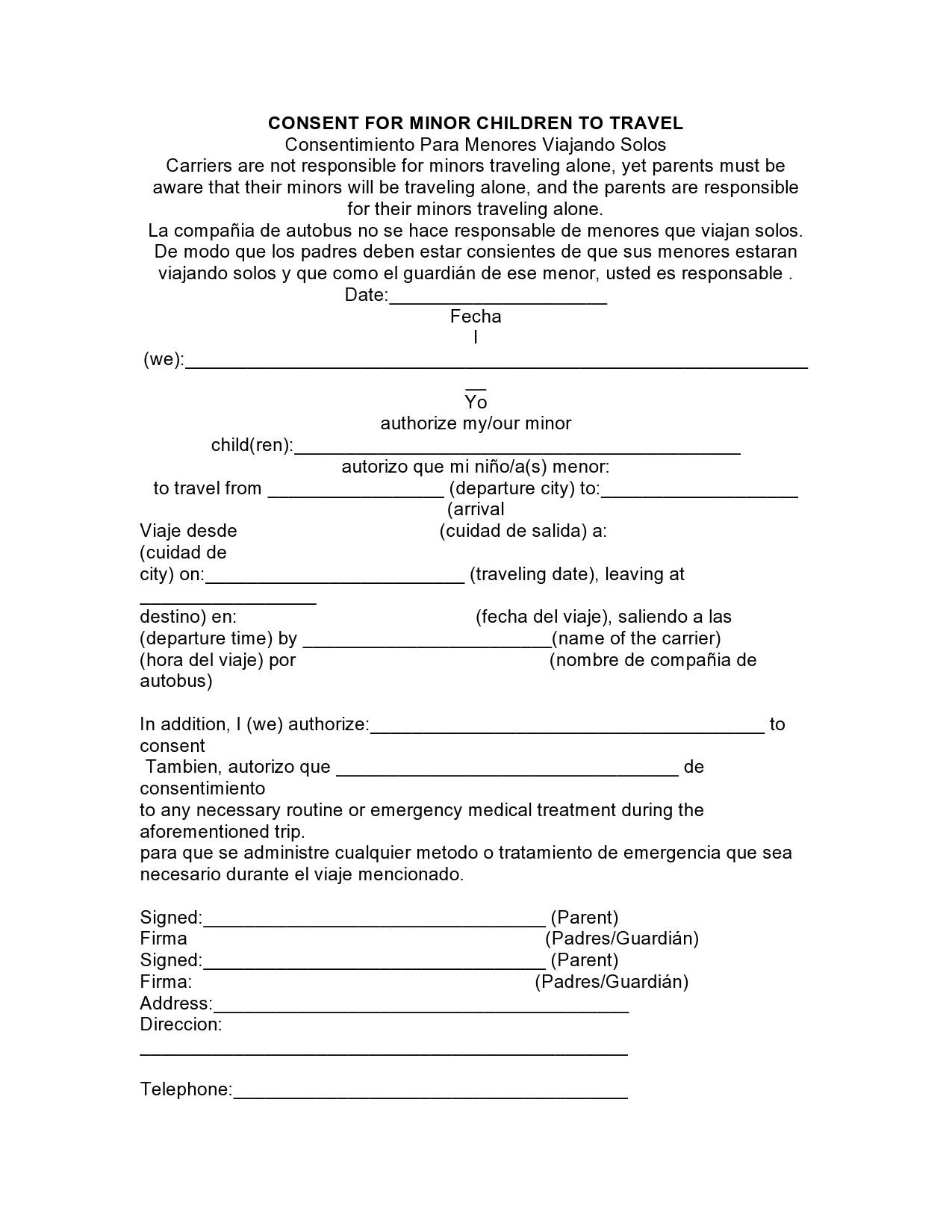 Free child travel consent form 45