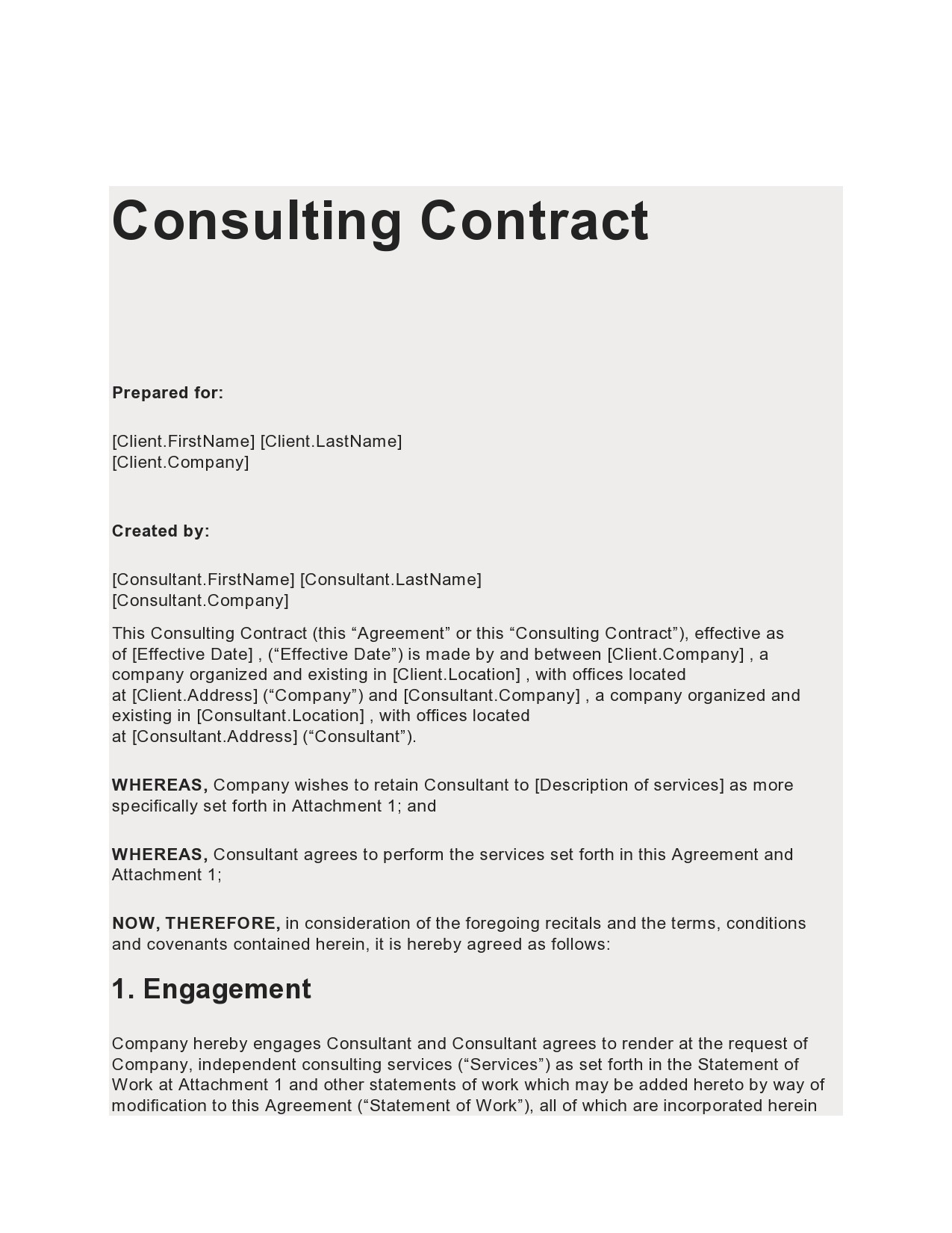 Free consulting contract template 01