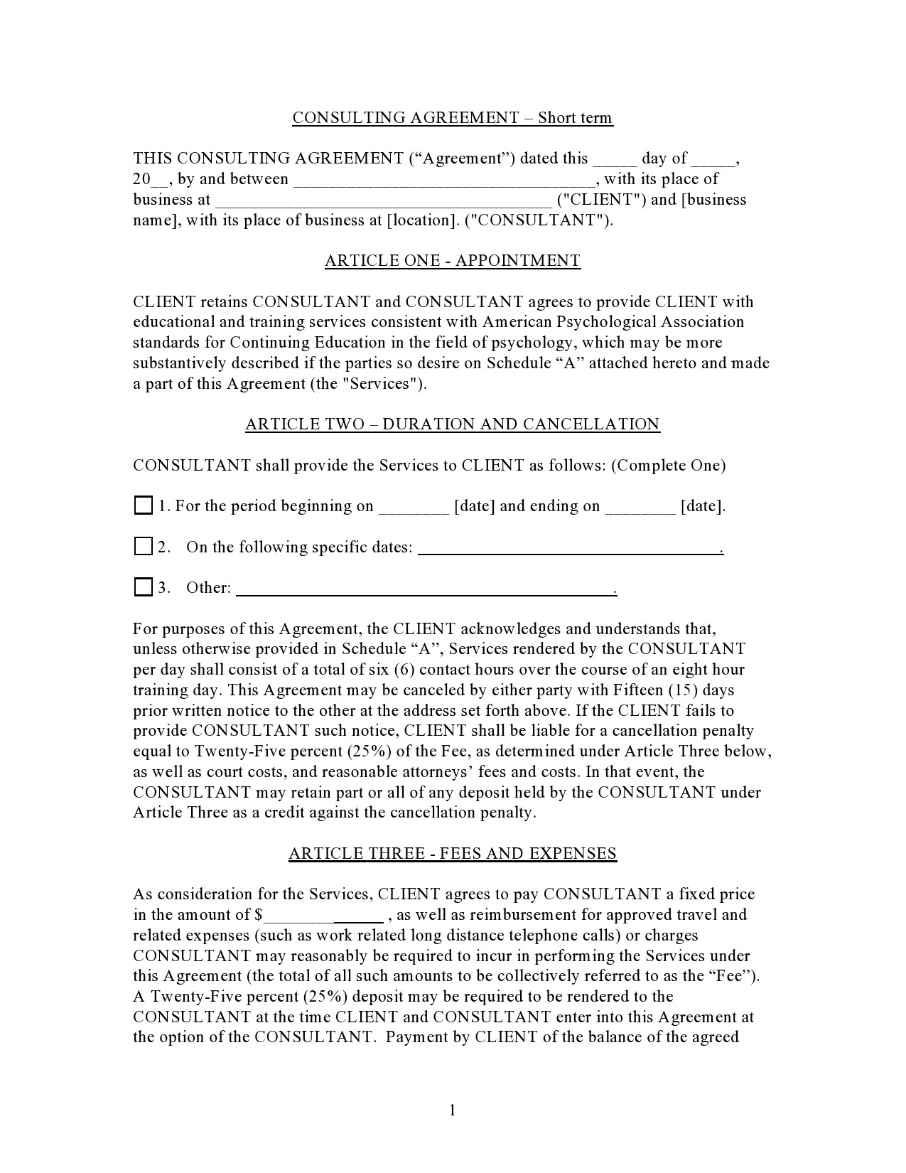 Free consulting contract template 14