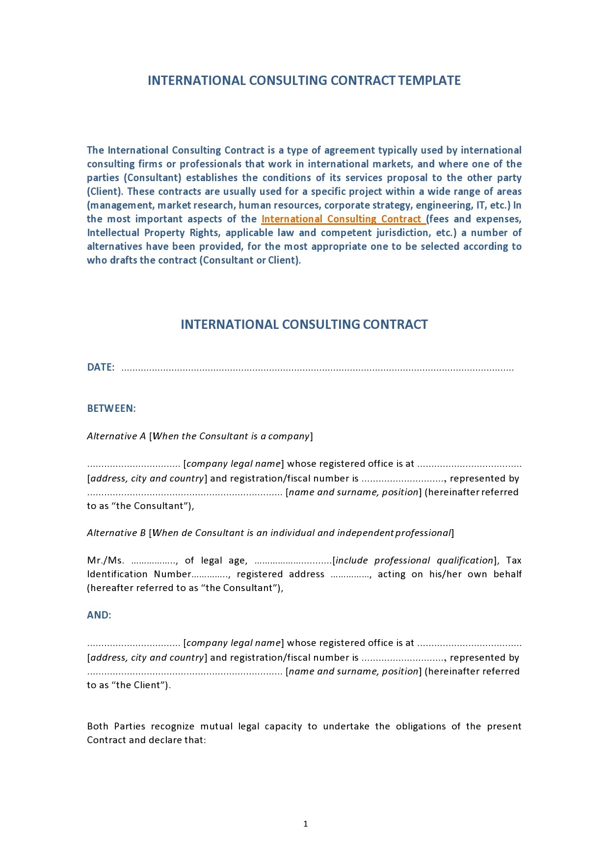 Free consulting contract template 35