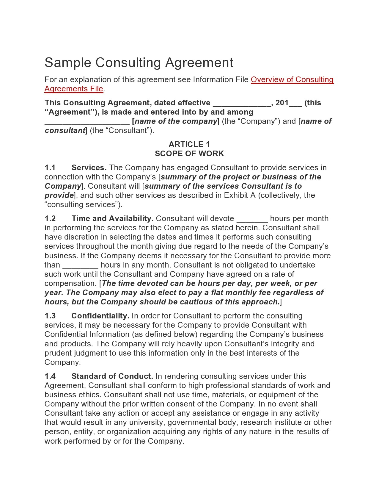 Free consulting contract template 40