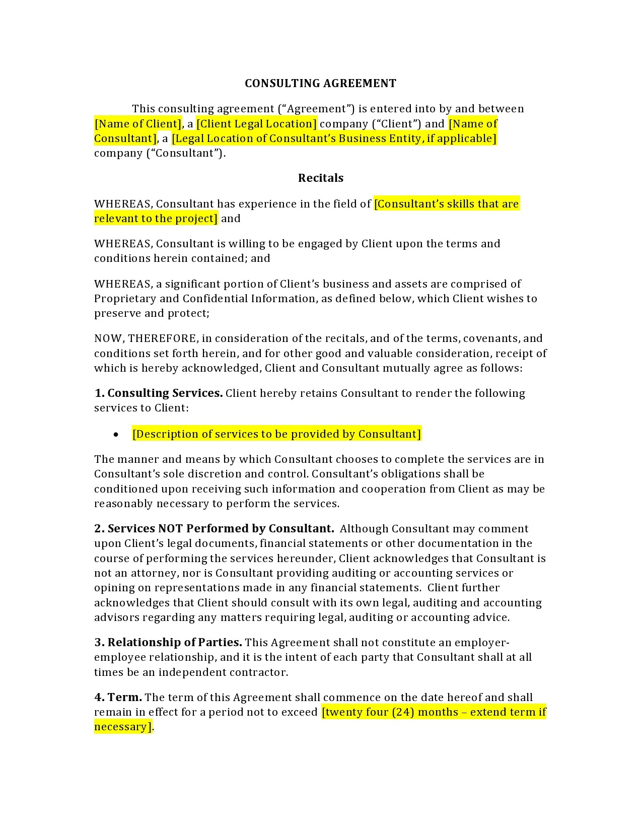 Free consulting contract template 45