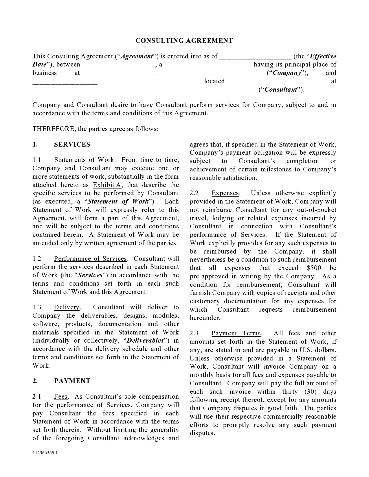 Free consulting contract template 48