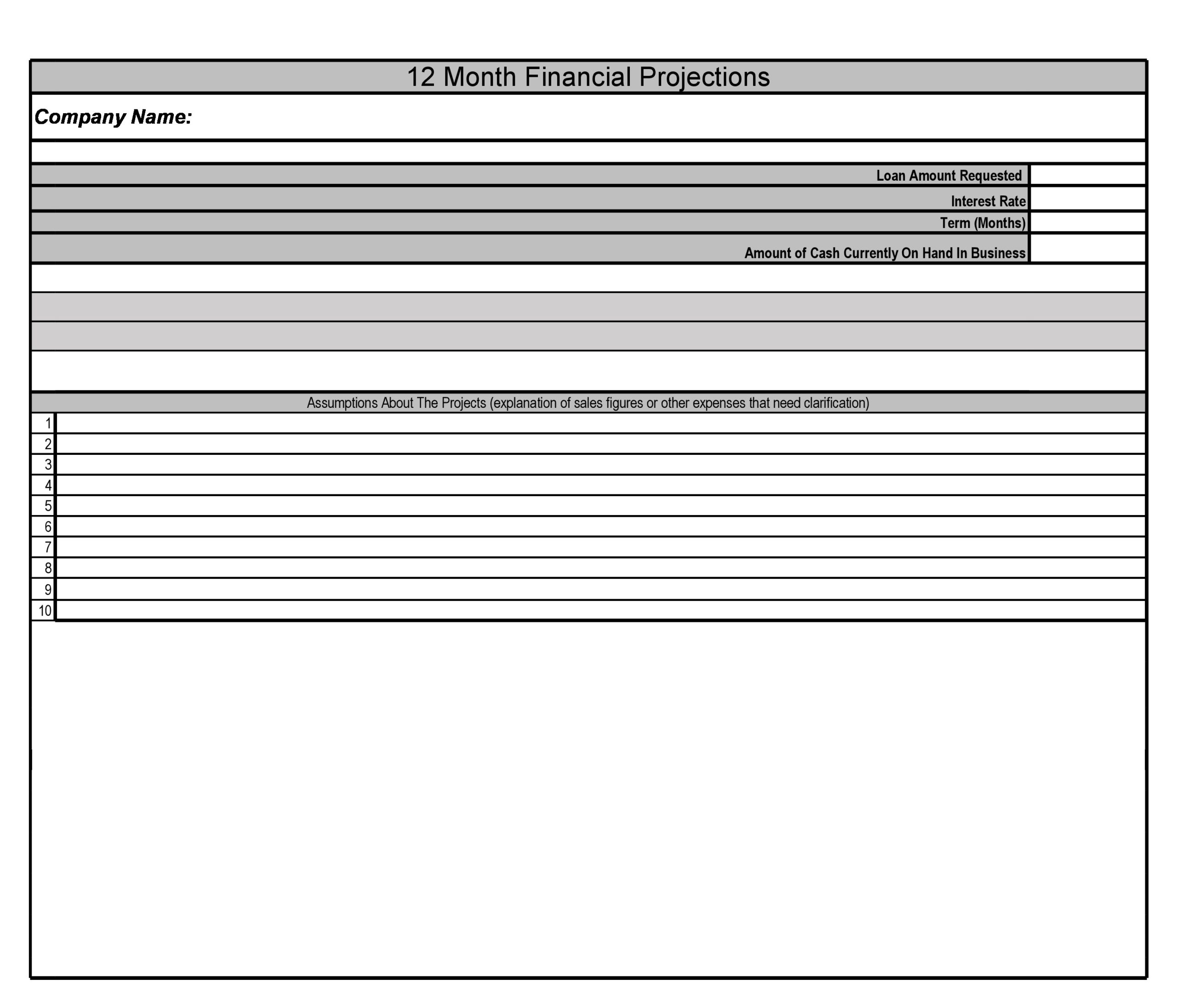 Free financial projections template 04