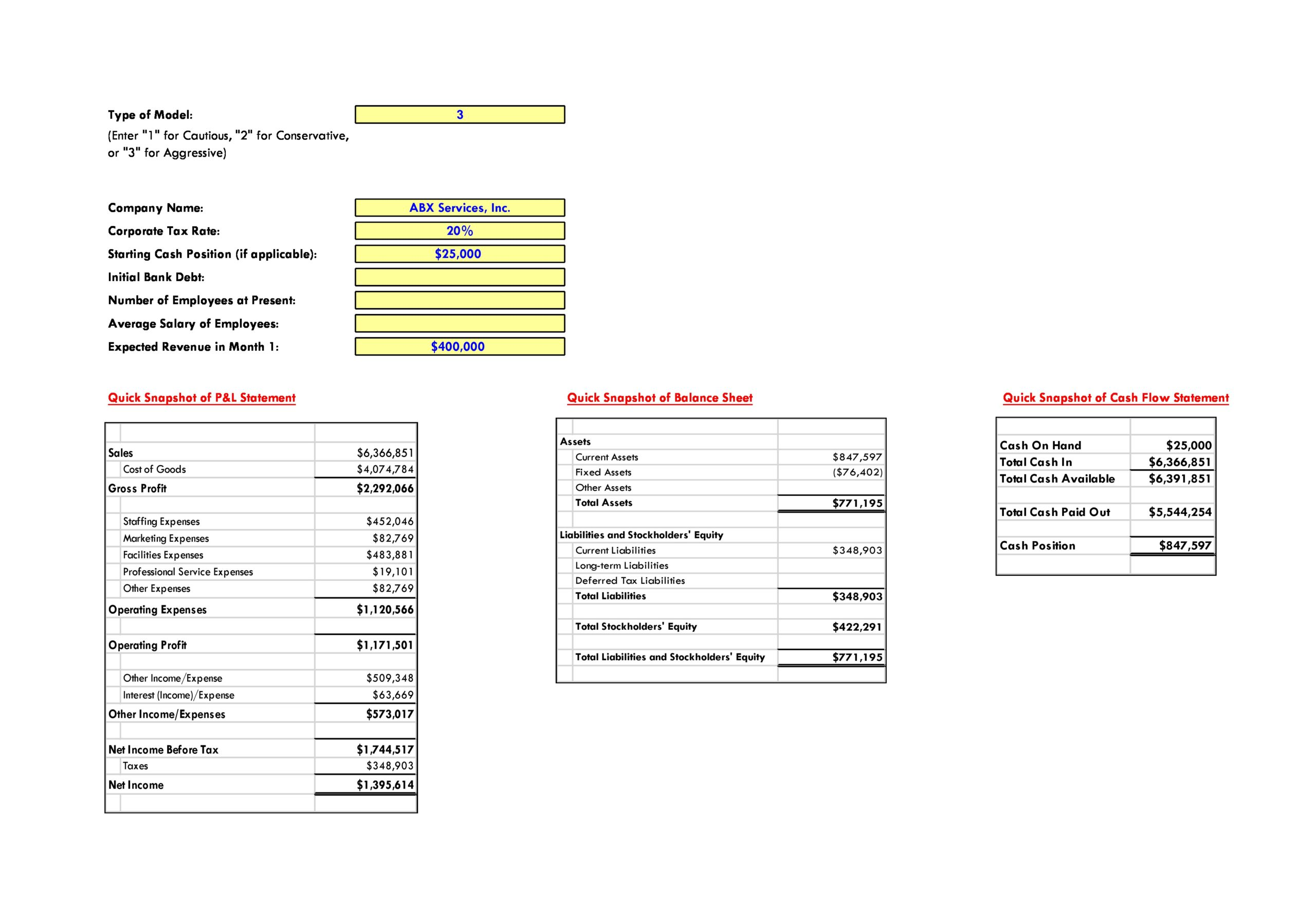 Free financial projections template 16