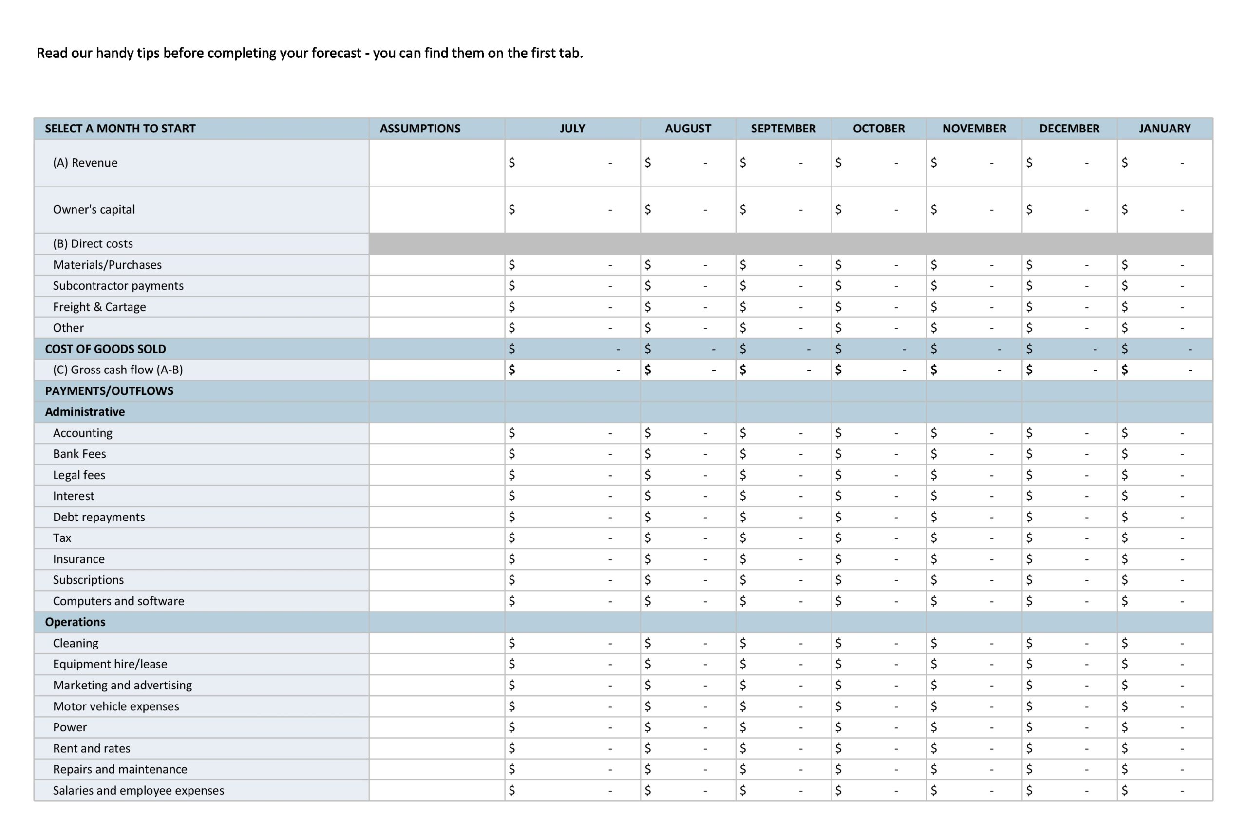 Free financial projections template 20