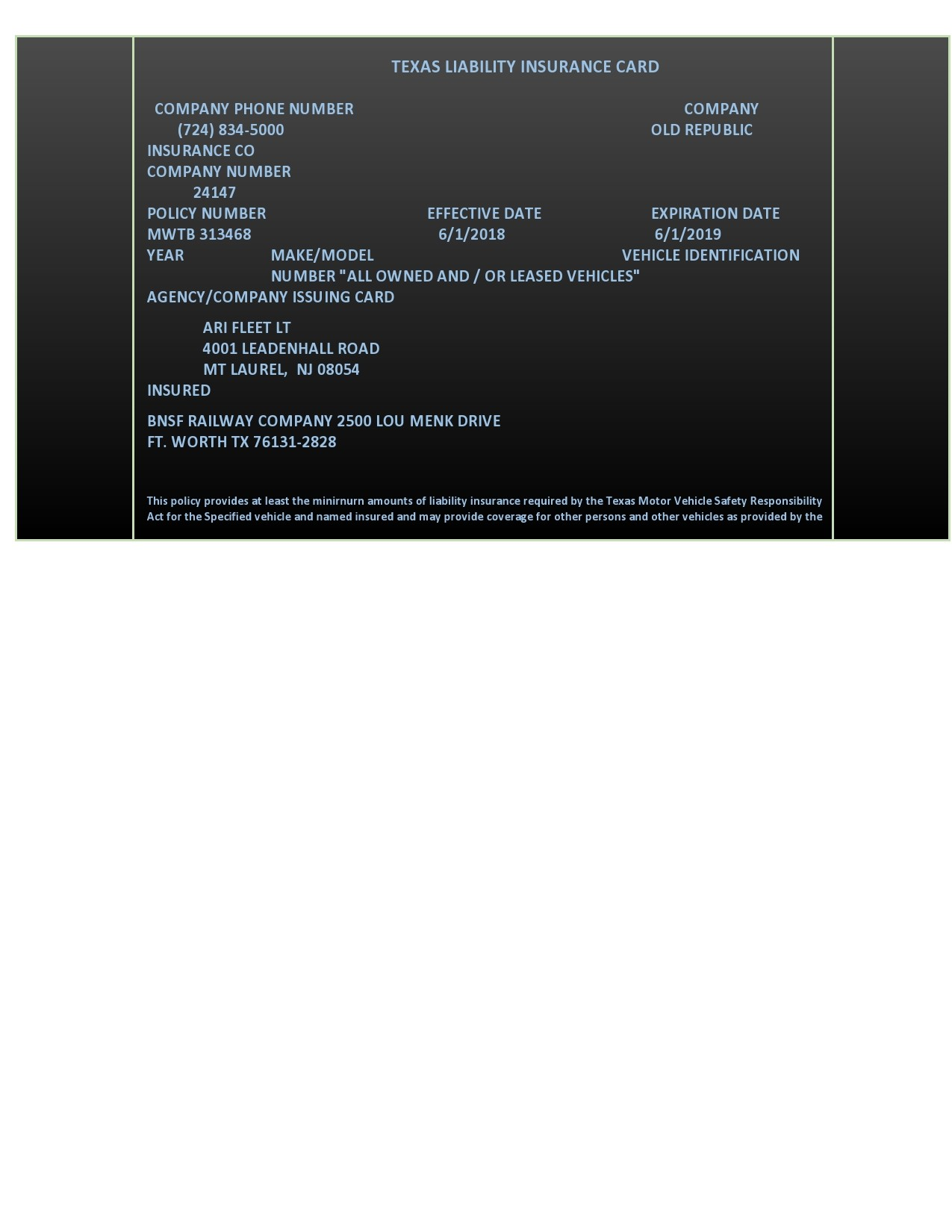 Free insurance card template 08