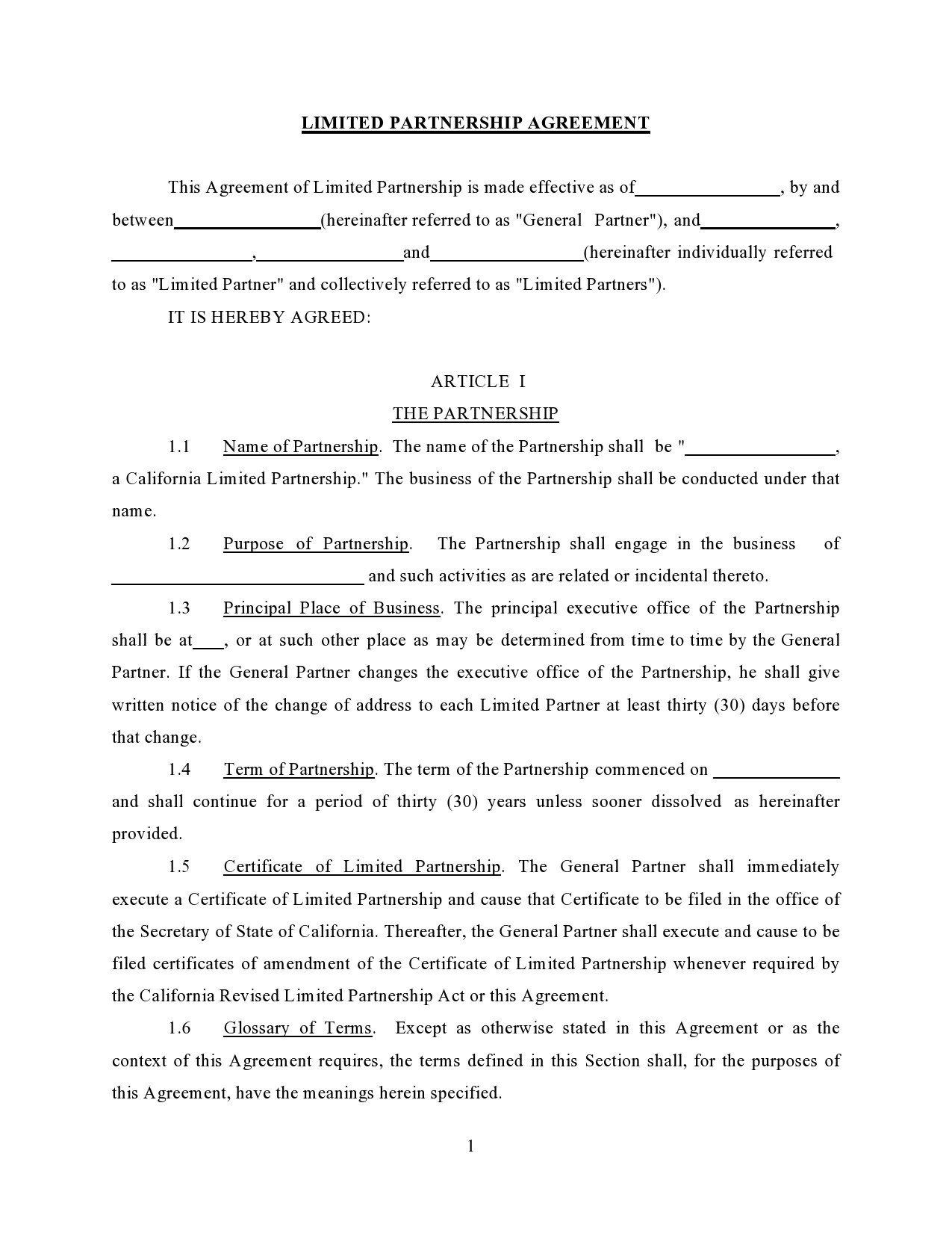 Free limited partnership agreement 01