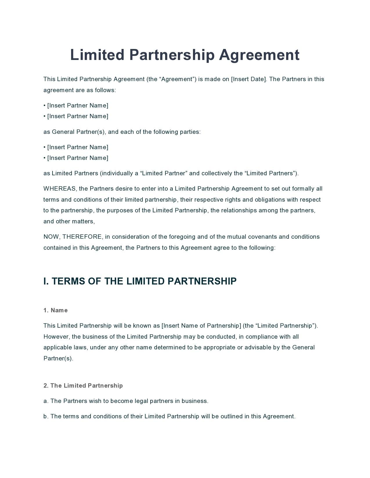 Free limited partnership agreement 03