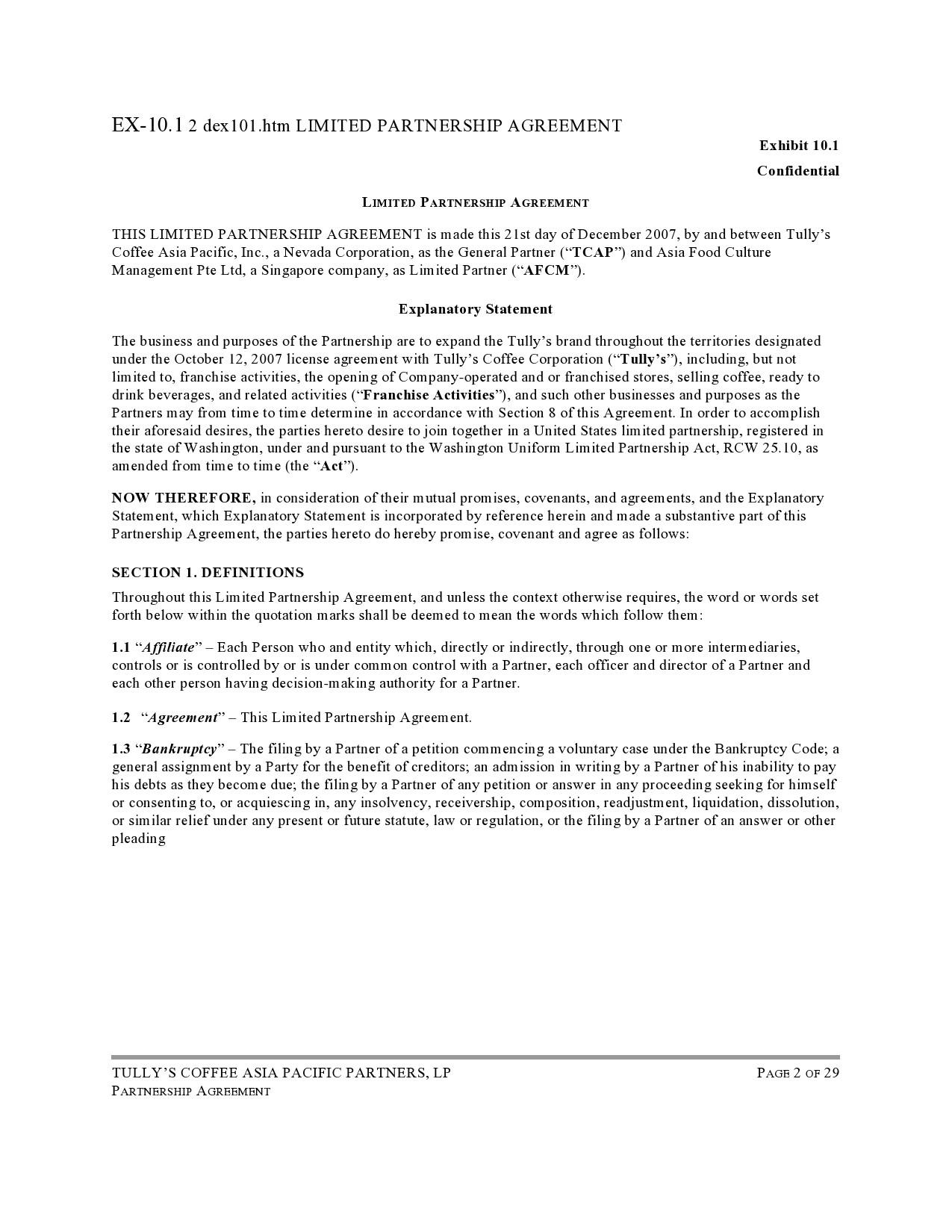 Free limited partnership agreement 04