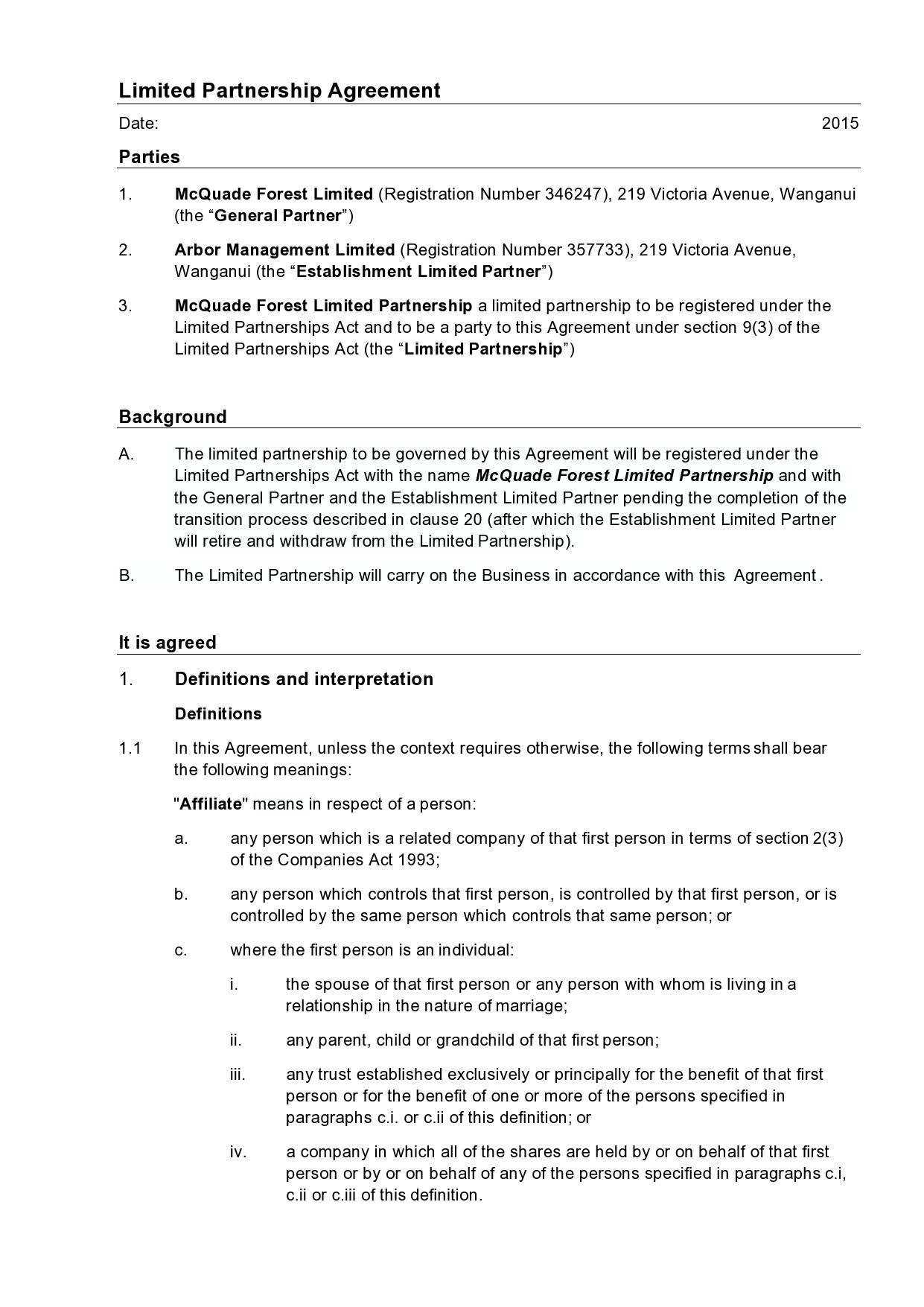 Free limited partnership agreement 06