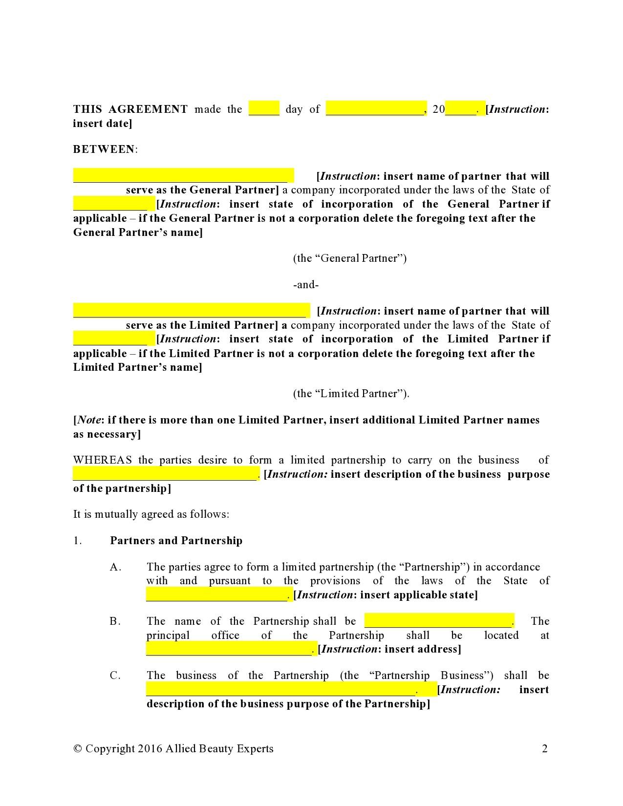 Free limited partnership agreement 07
