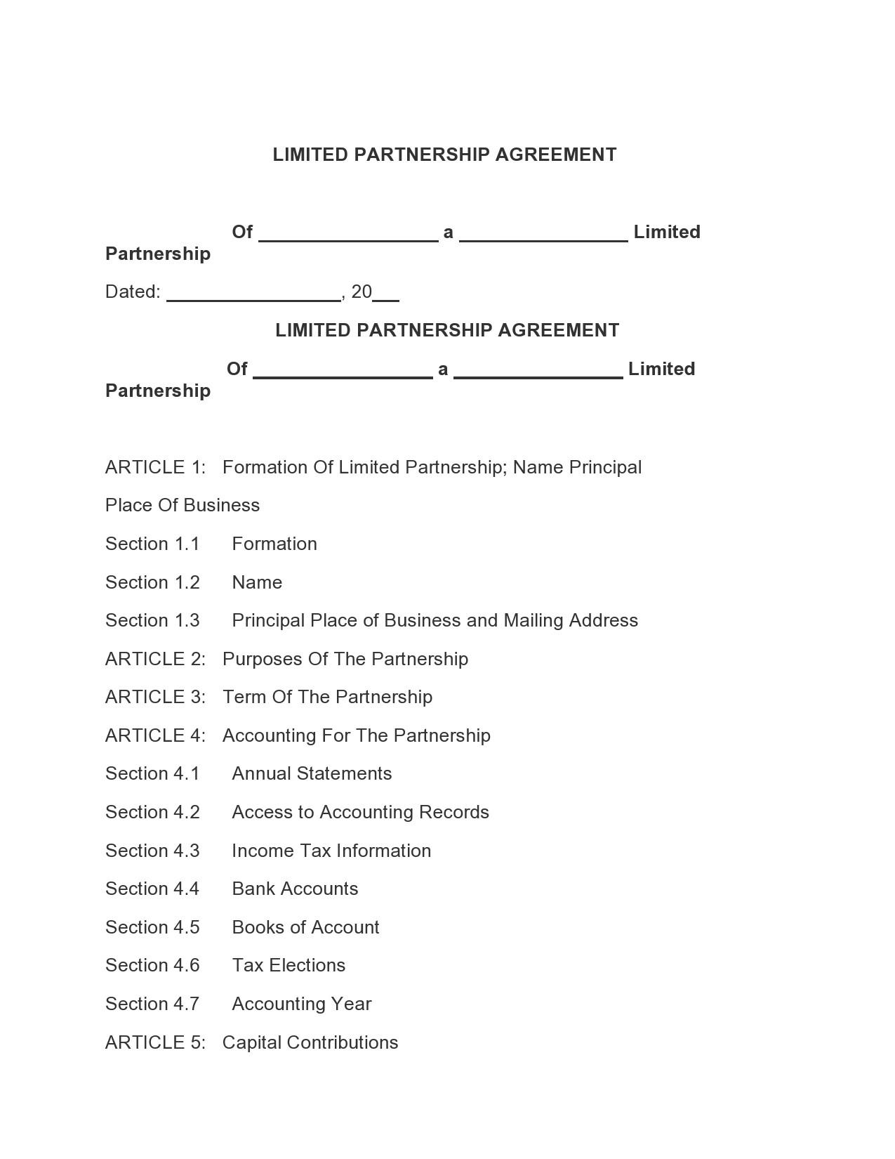Free limited partnership agreement 09