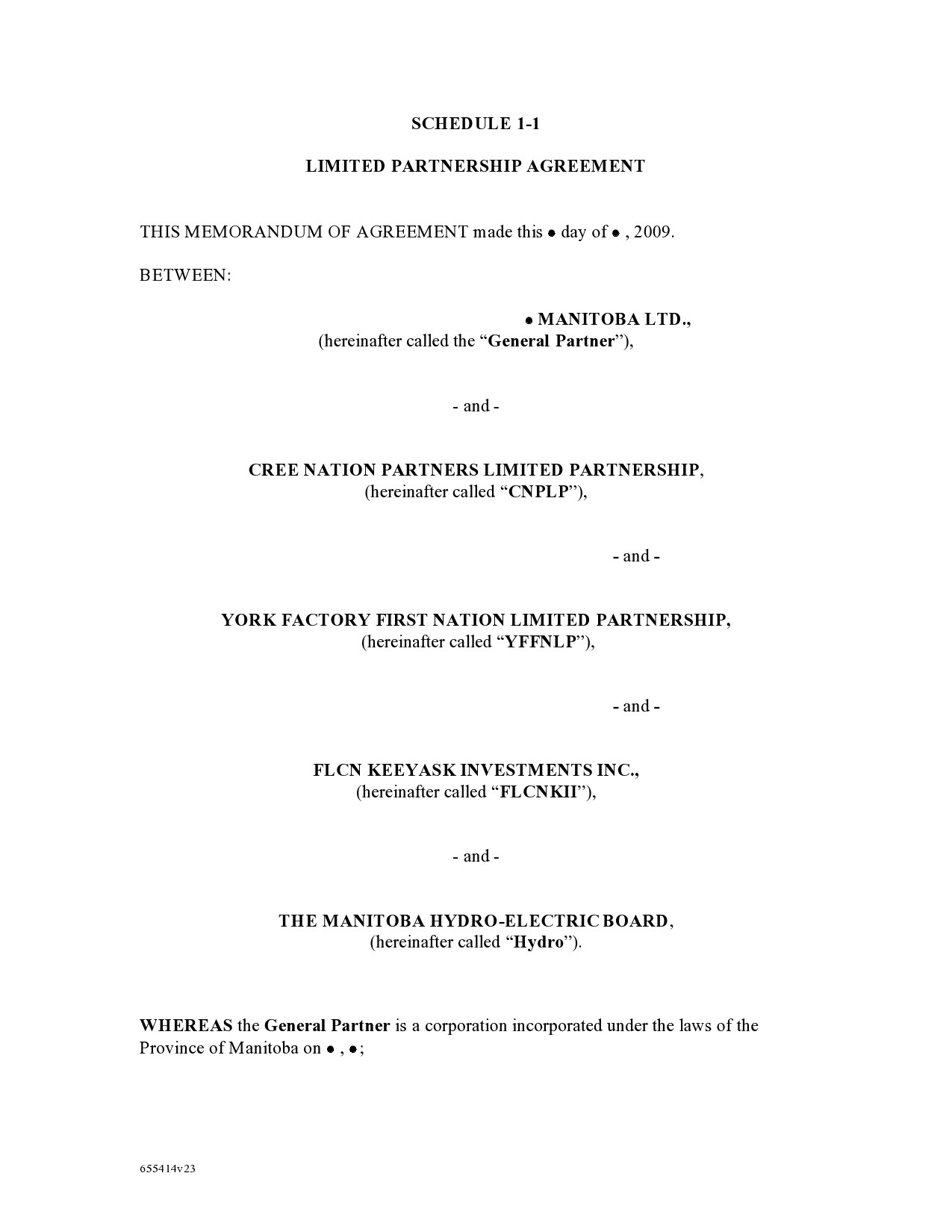 Free limited partnership agreement 14