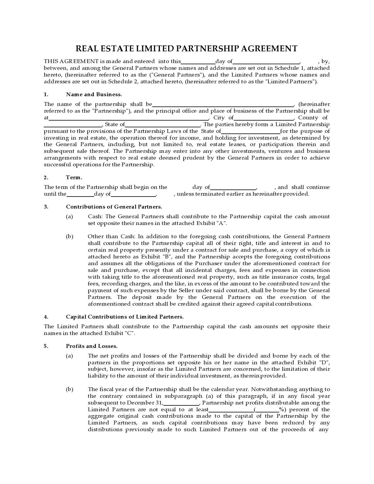 Free limited partnership agreement 15