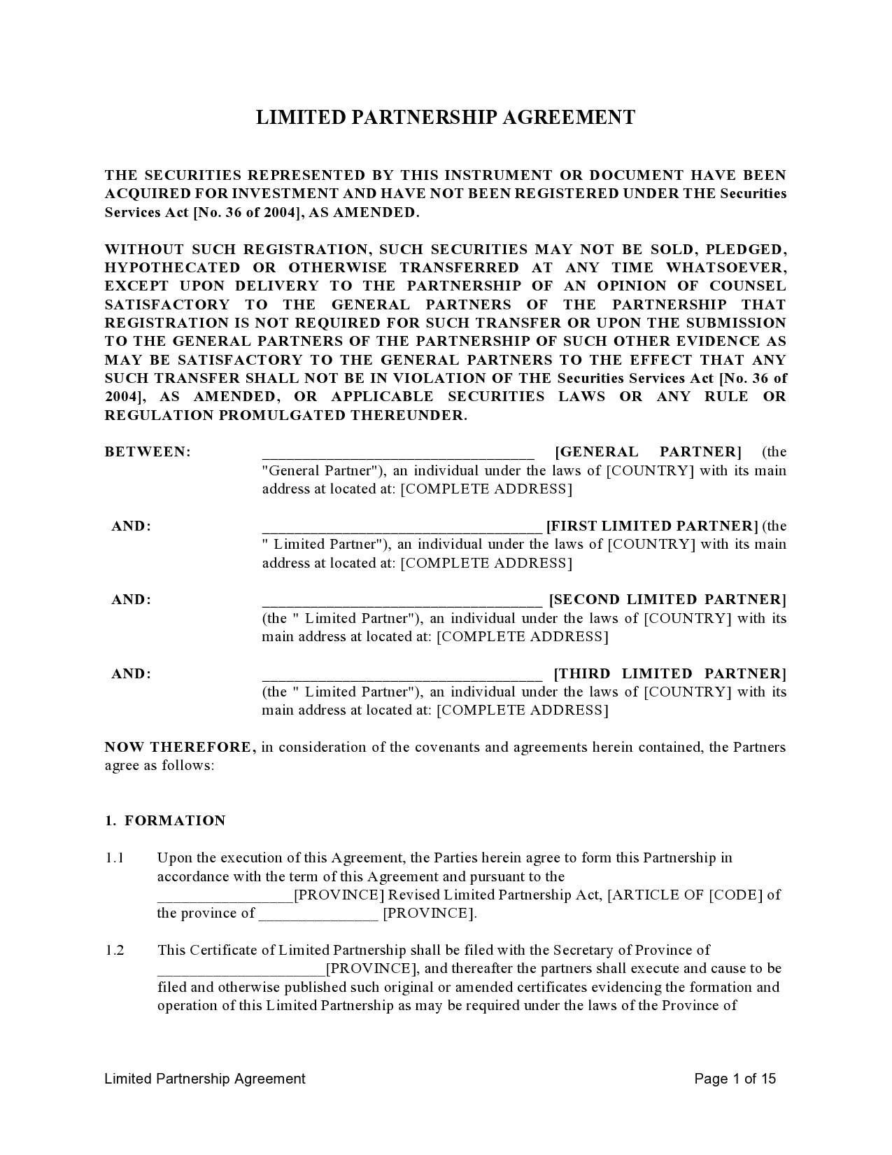 Free limited partnership agreement 16