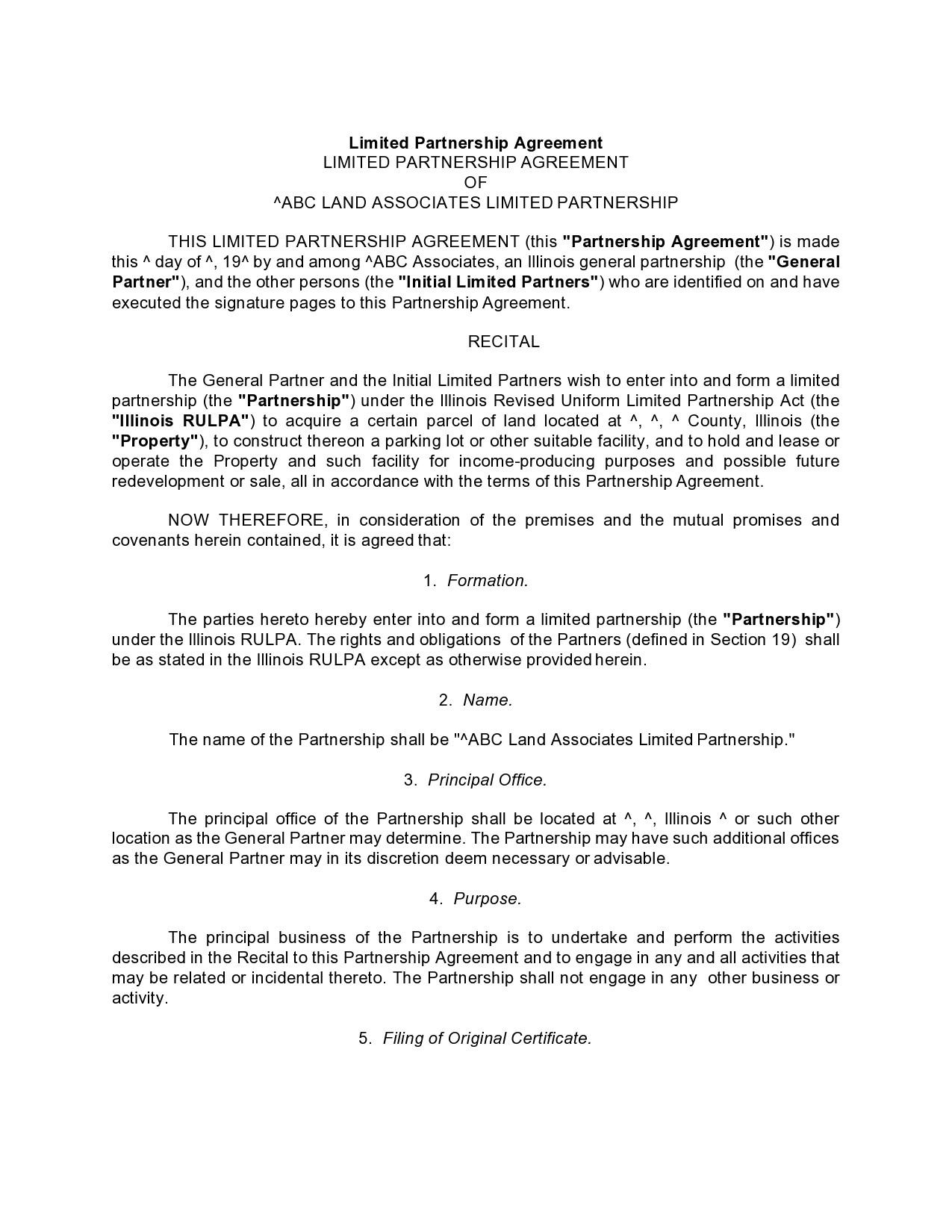 Free limited partnership agreement 17