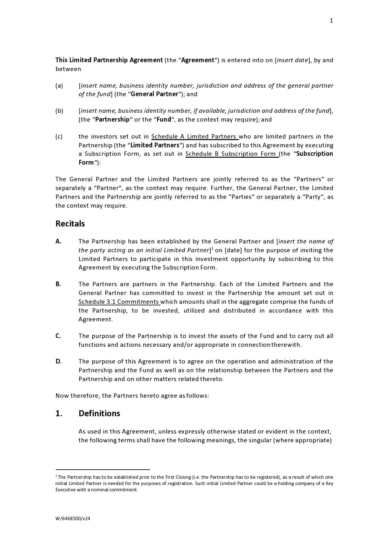 Free limited partnership agreement 20