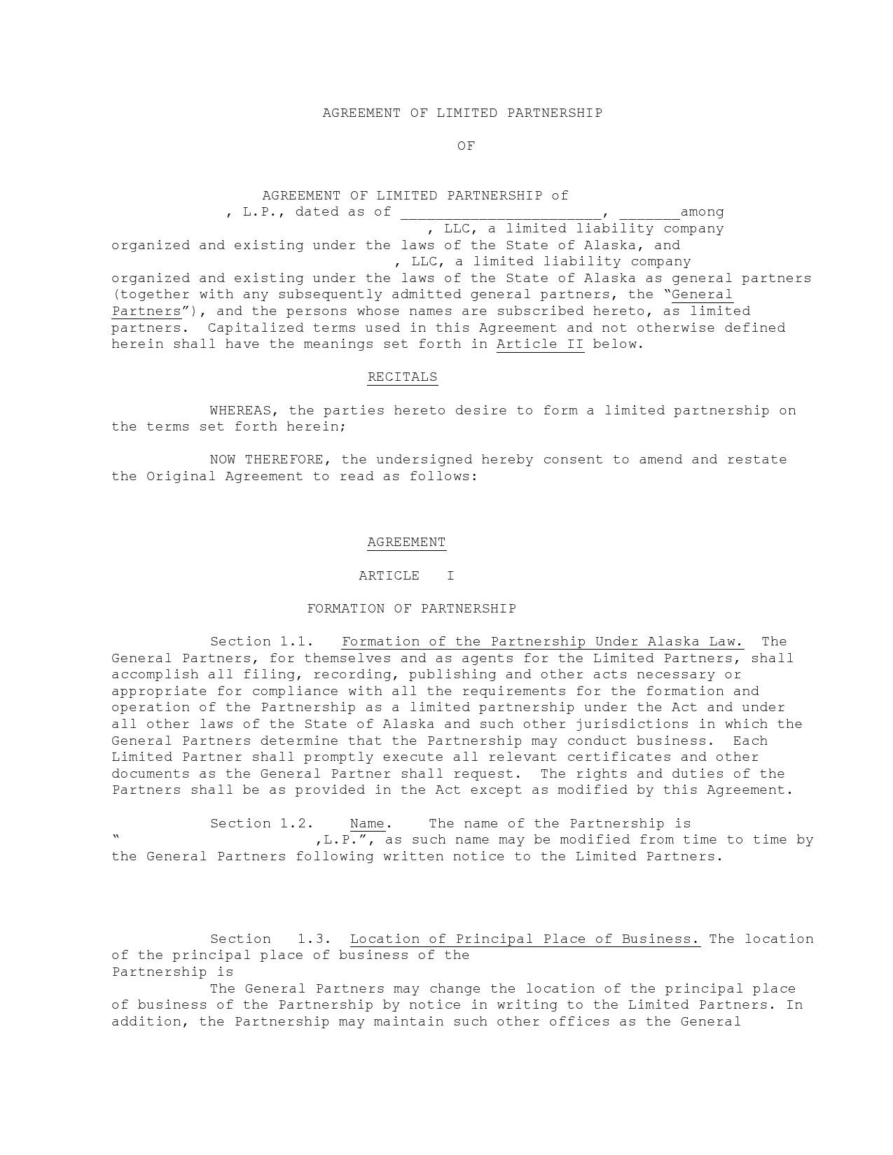Free limited partnership agreement 30
