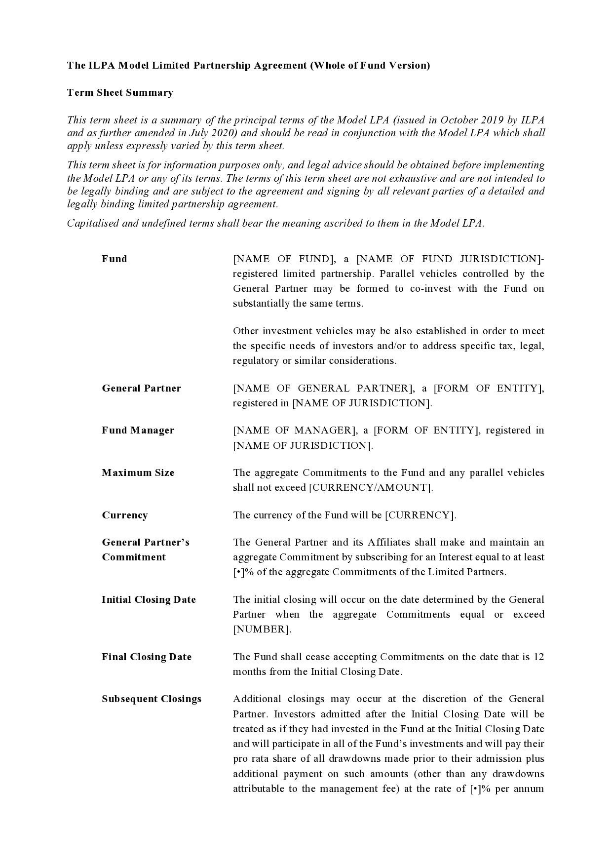 Free limited partnership agreement 31