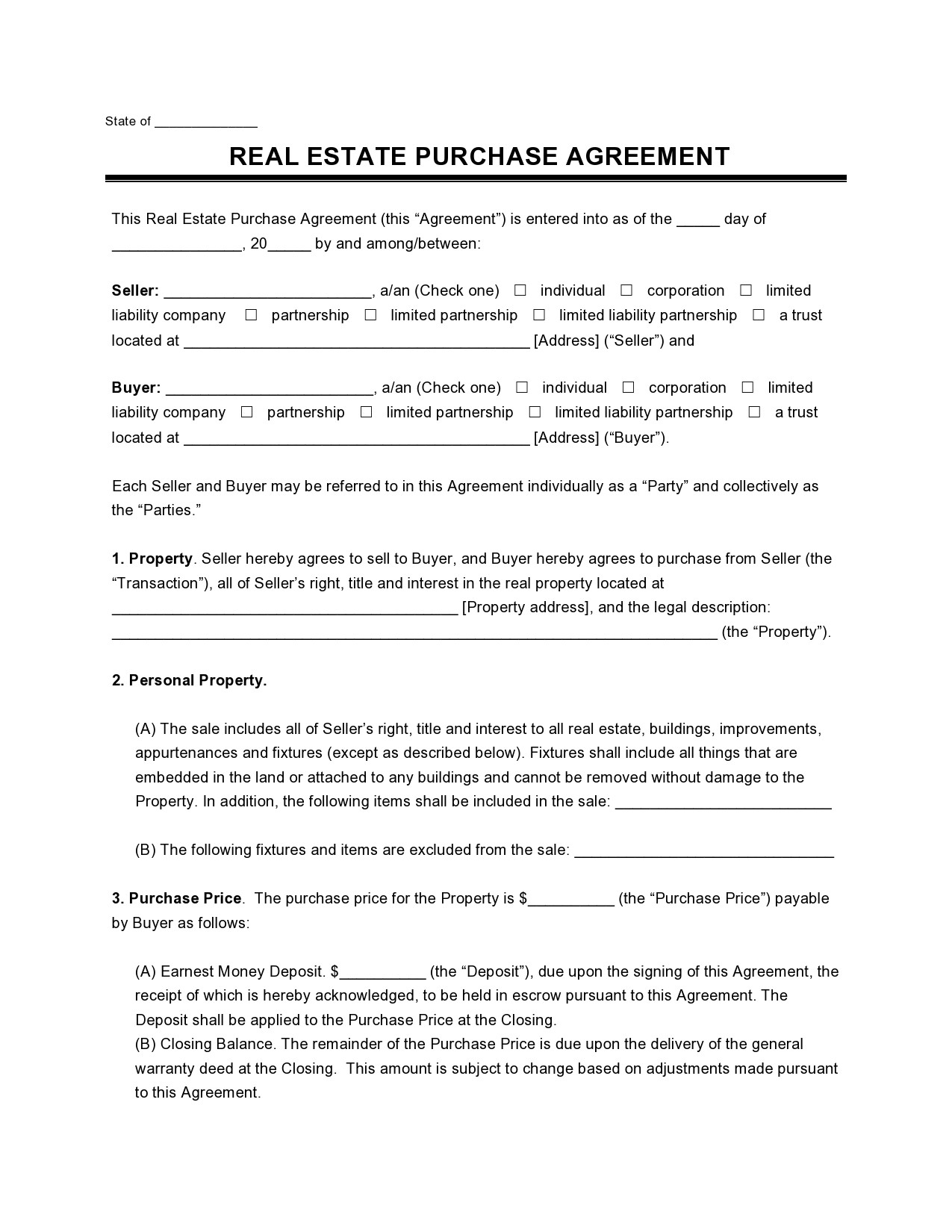 Free offer to purchase real estate 18