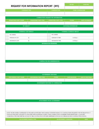 Request For Information Templates