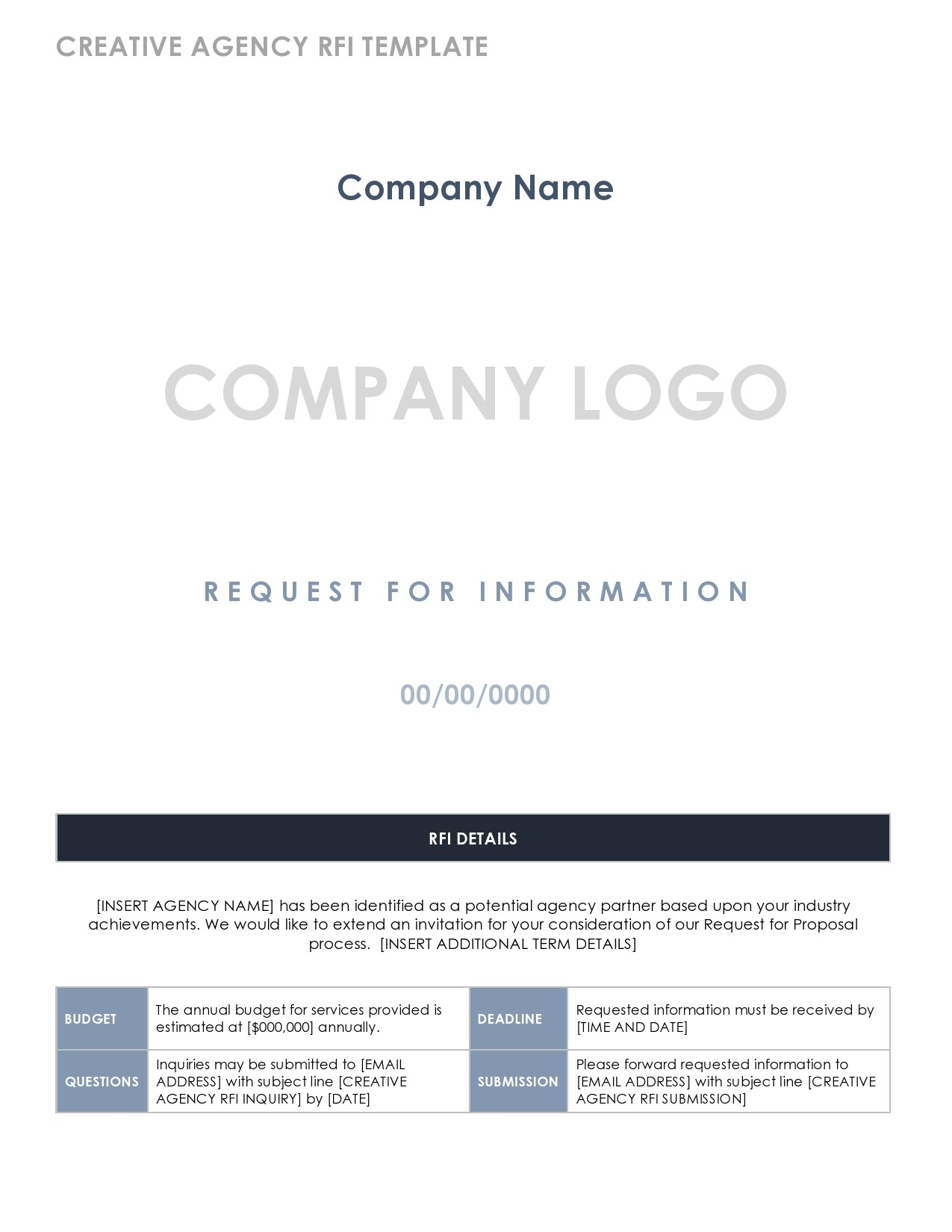 Free request for information template 19