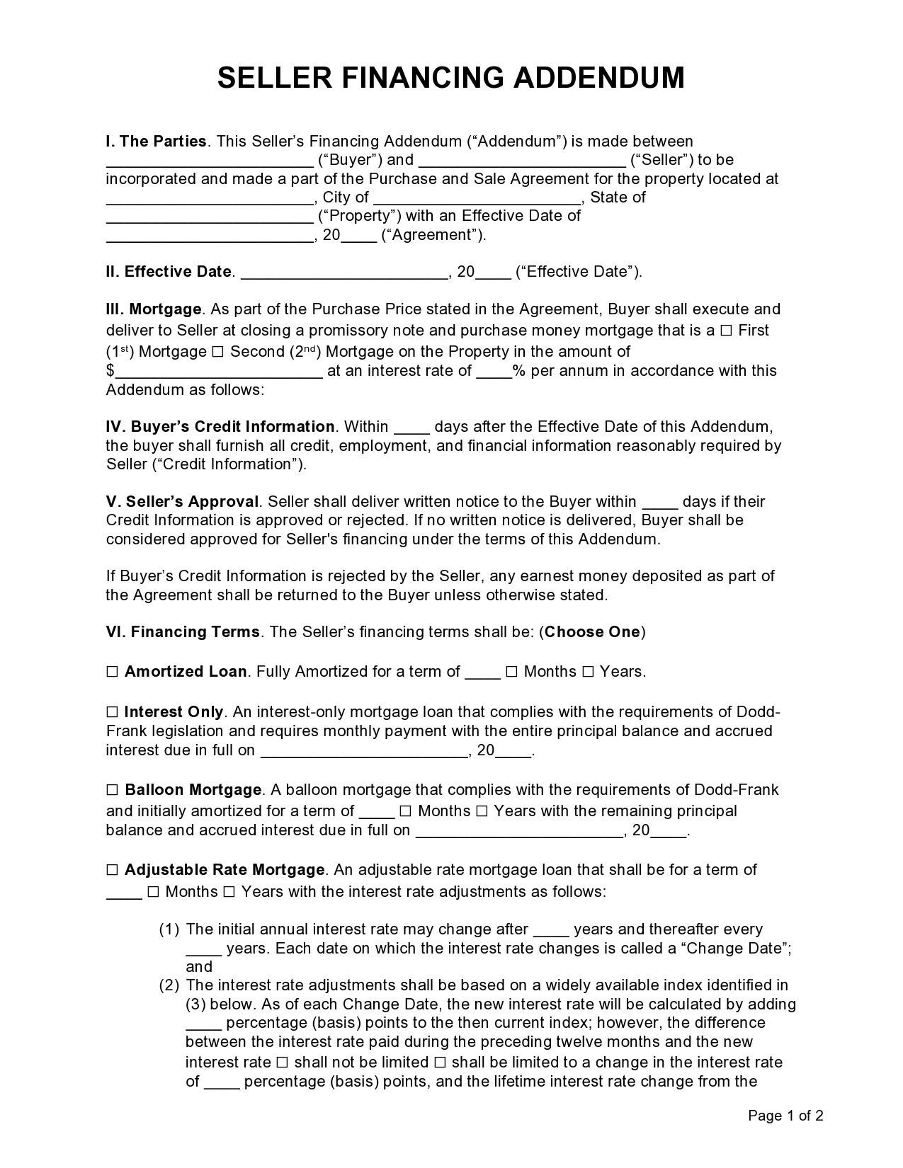 Free seller financing addendum 01