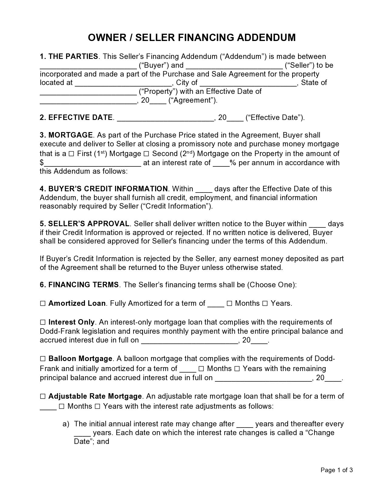 Free seller financing addendum 06