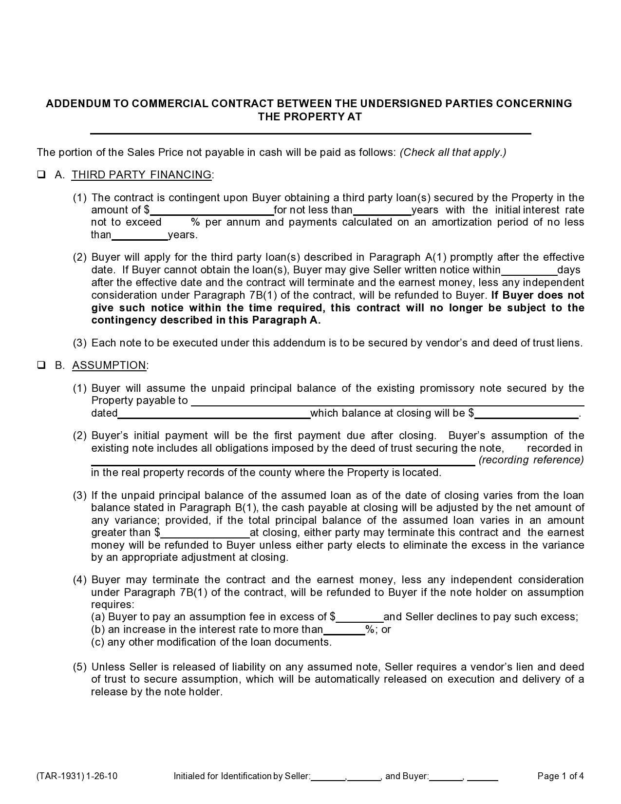 Free seller financing addendum 12