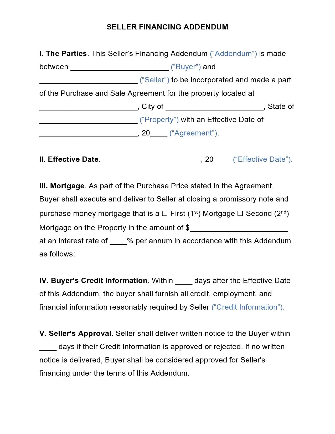 Free seller financing addendum 13