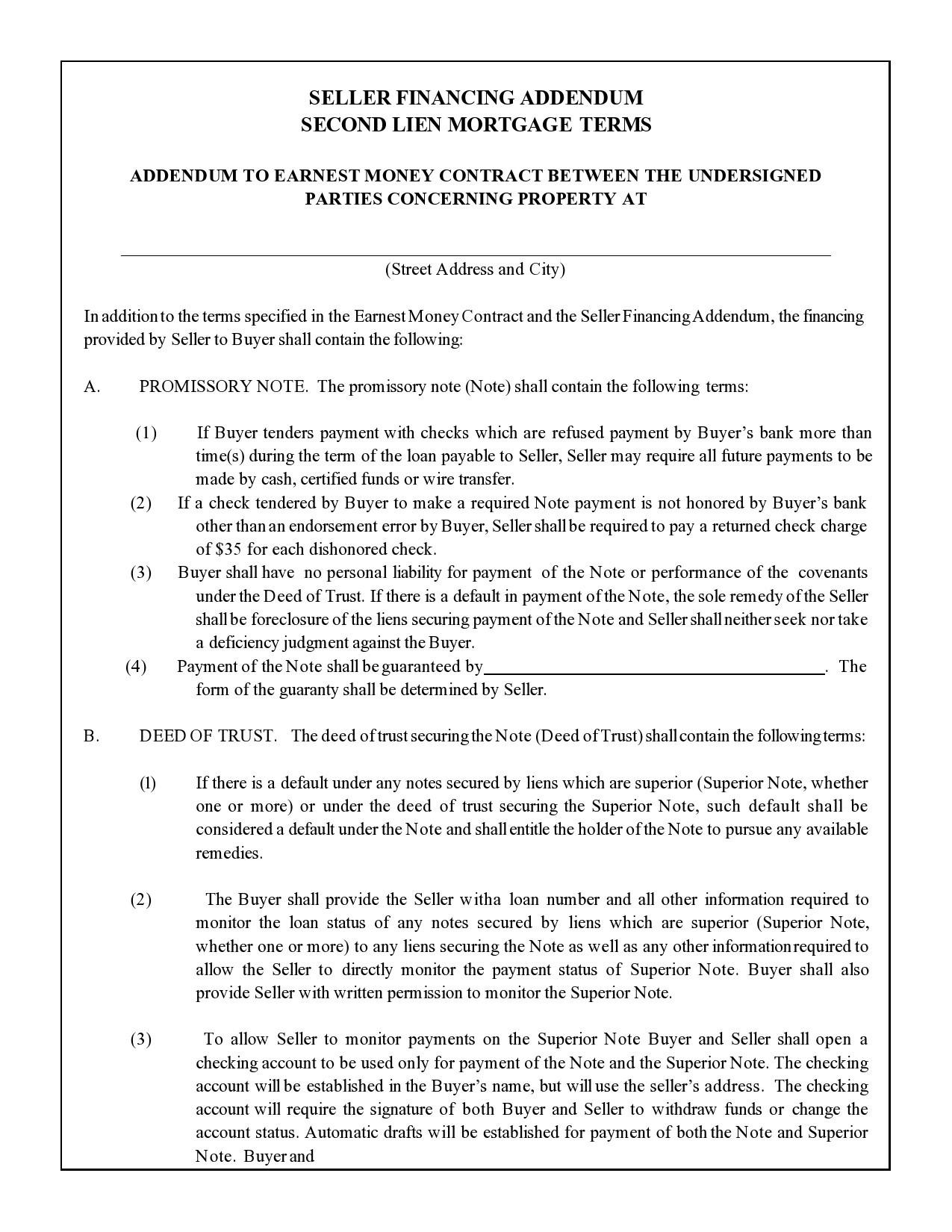 Free seller financing addendum 21