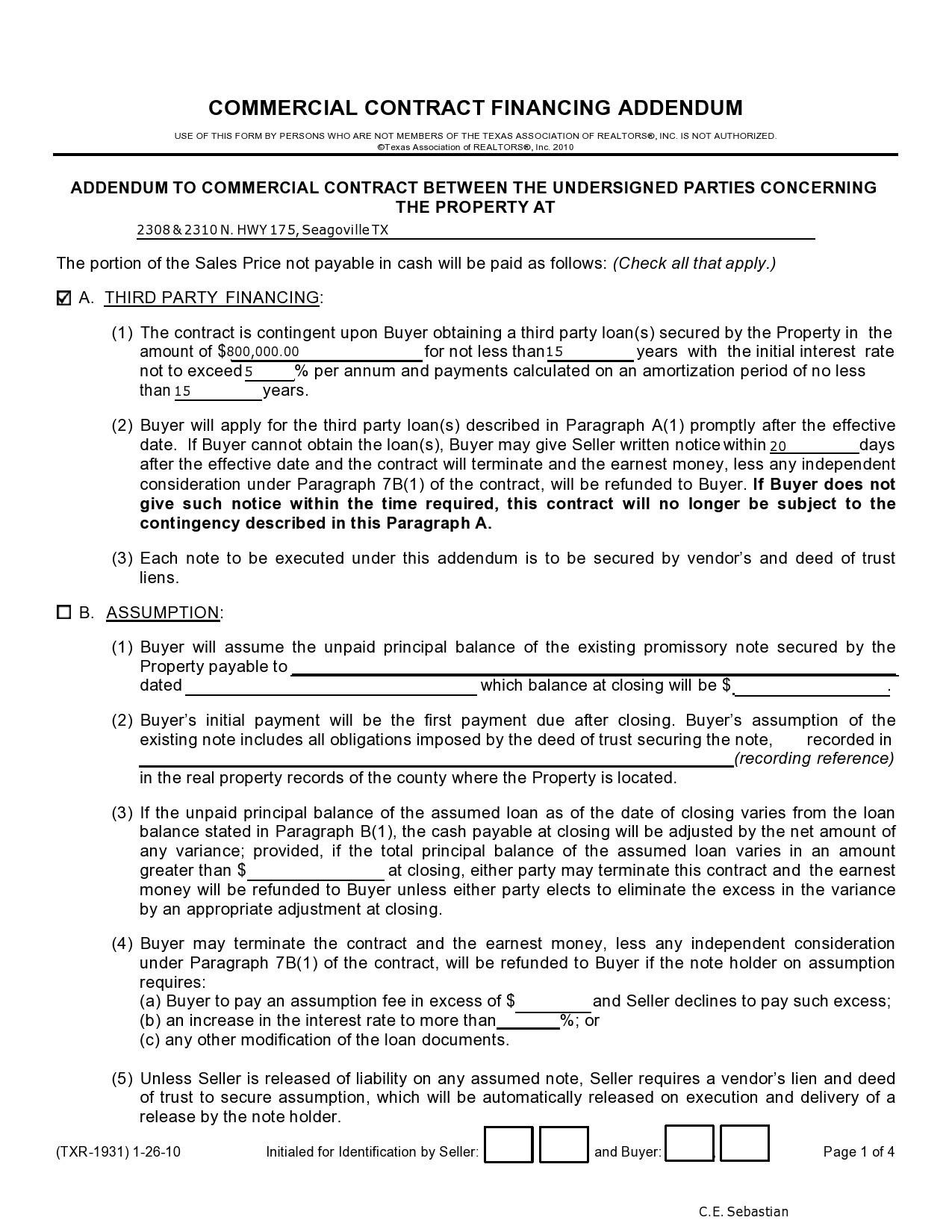 Free seller financing addendum 22