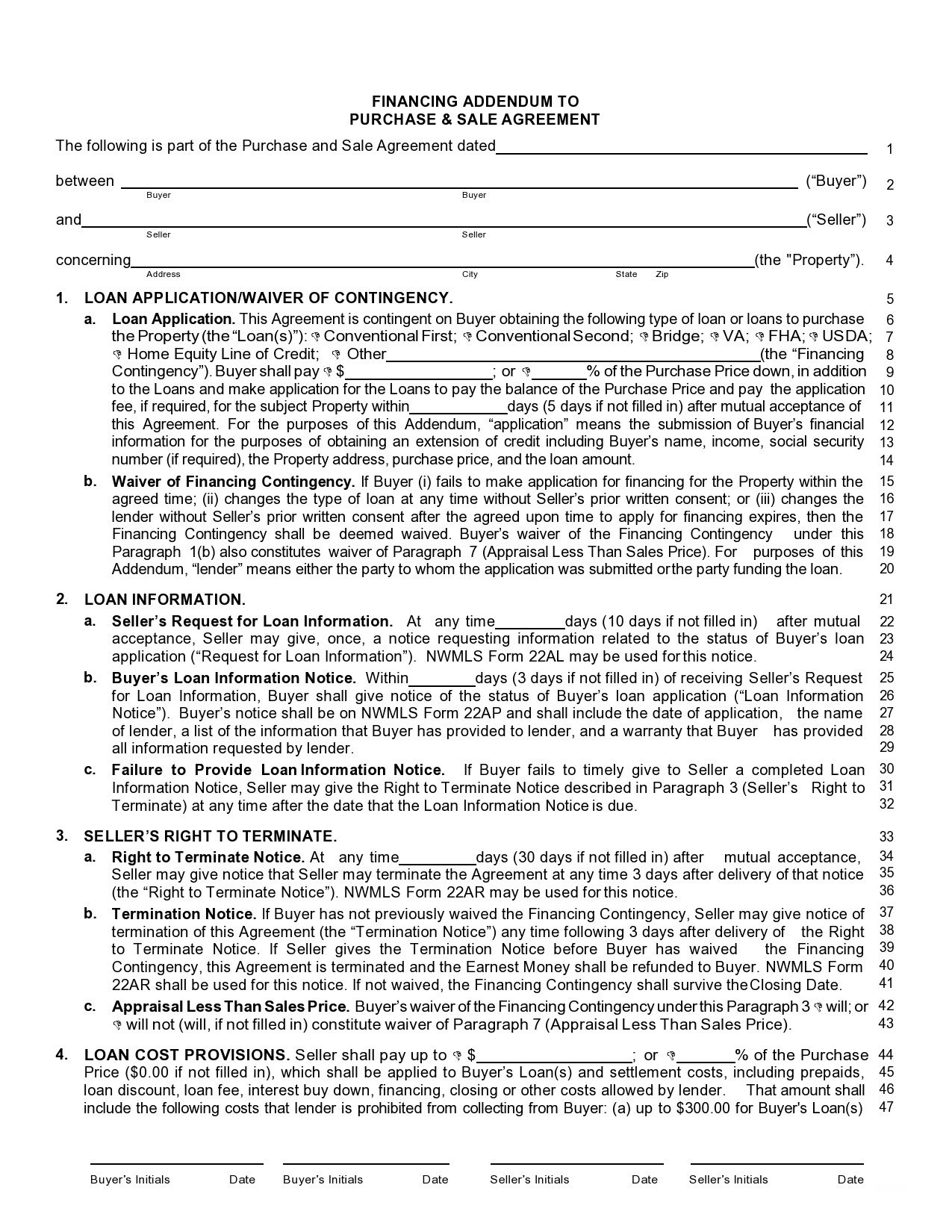 Free seller financing addendum 24