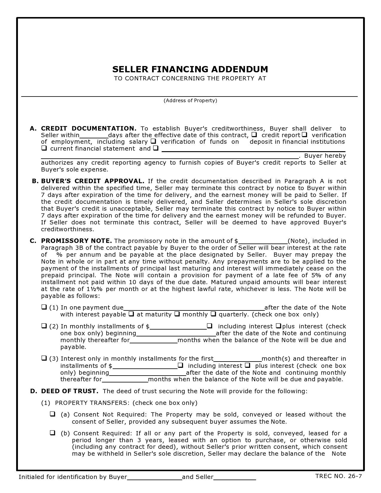 Free seller financing addendum 29