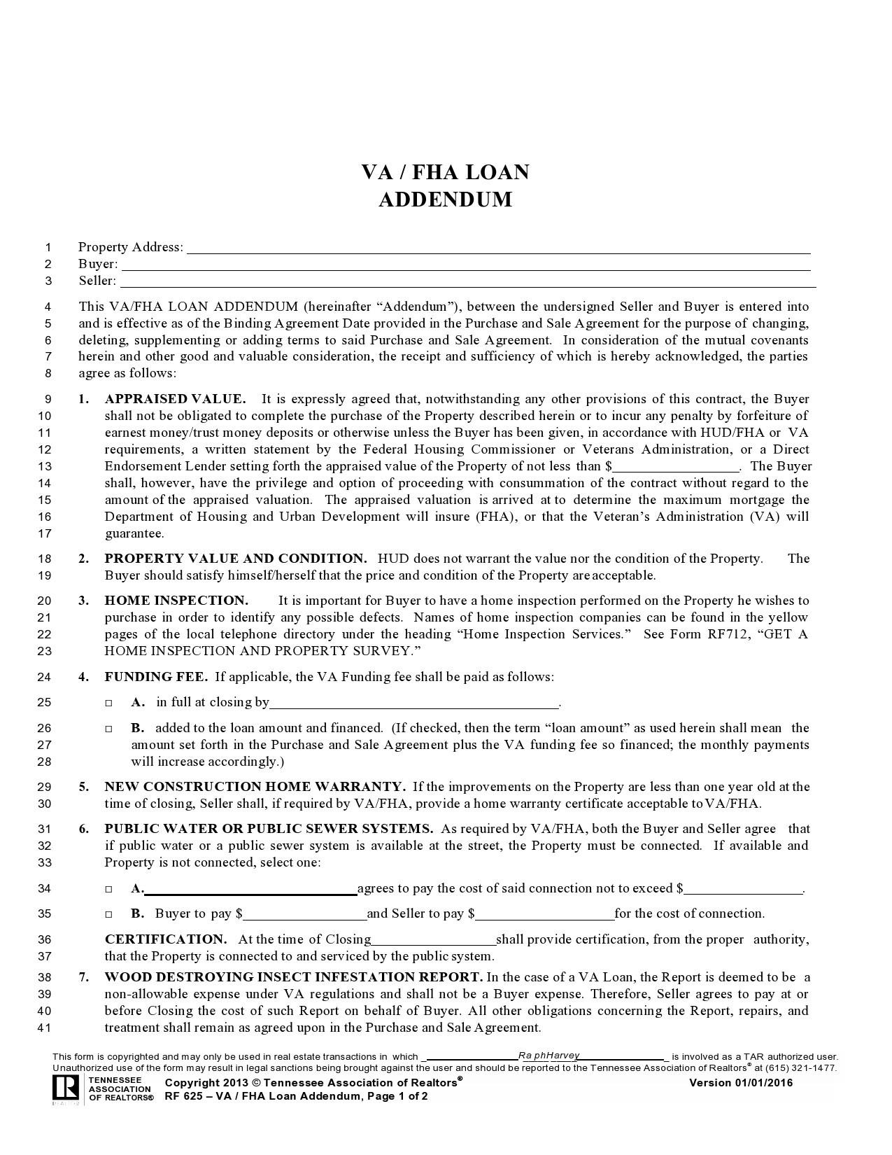 Free seller financing addendum 30