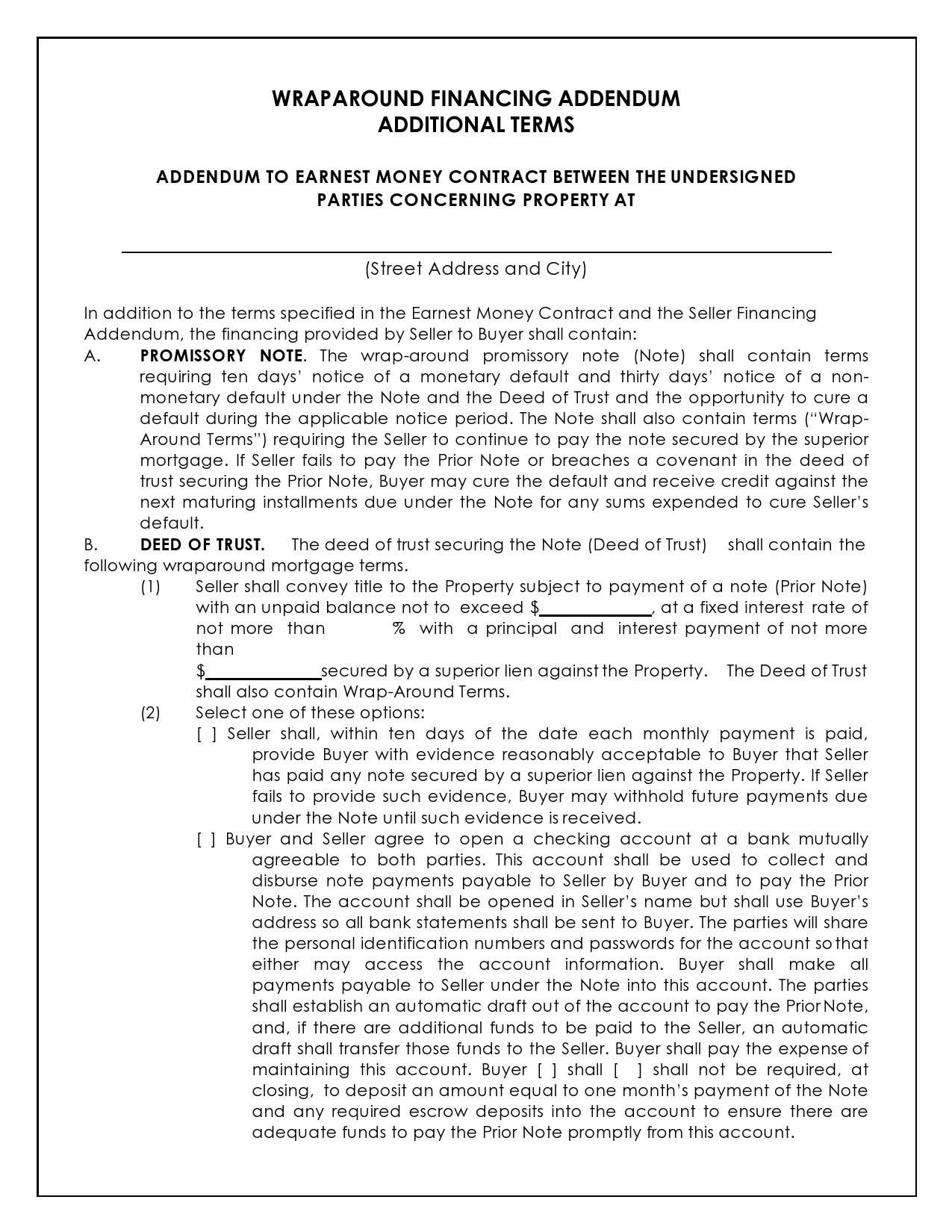 Free seller financing addendum 32