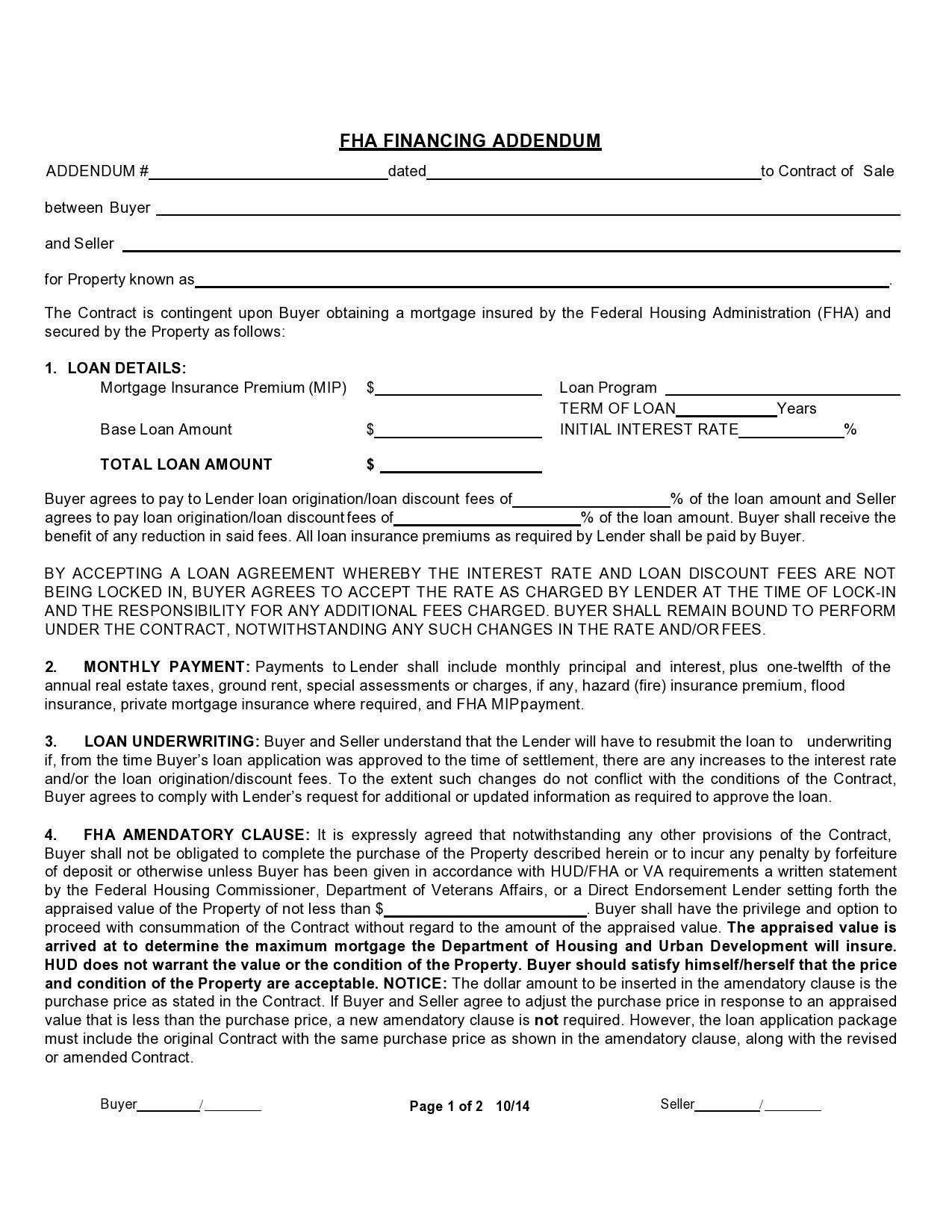 Free seller financing addendum 42