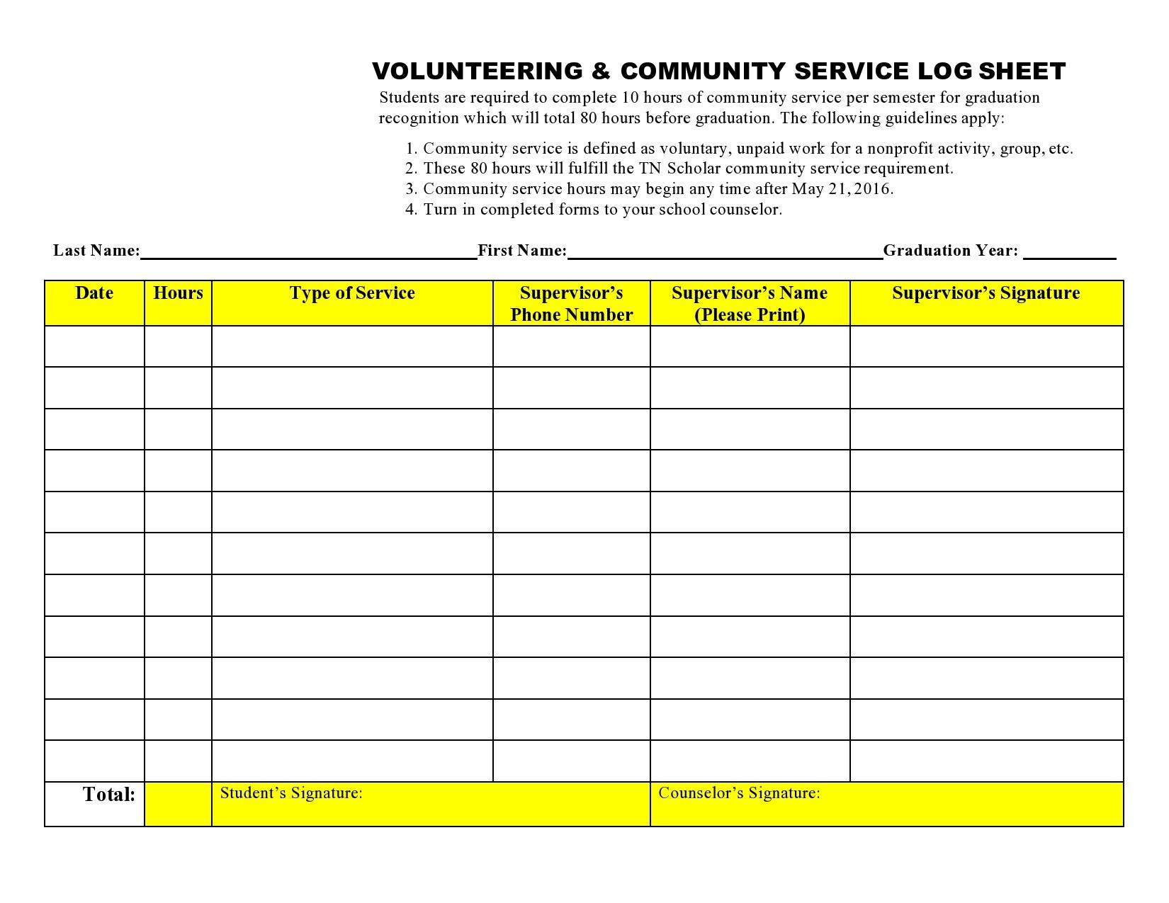 Free volunteer hours log 04
