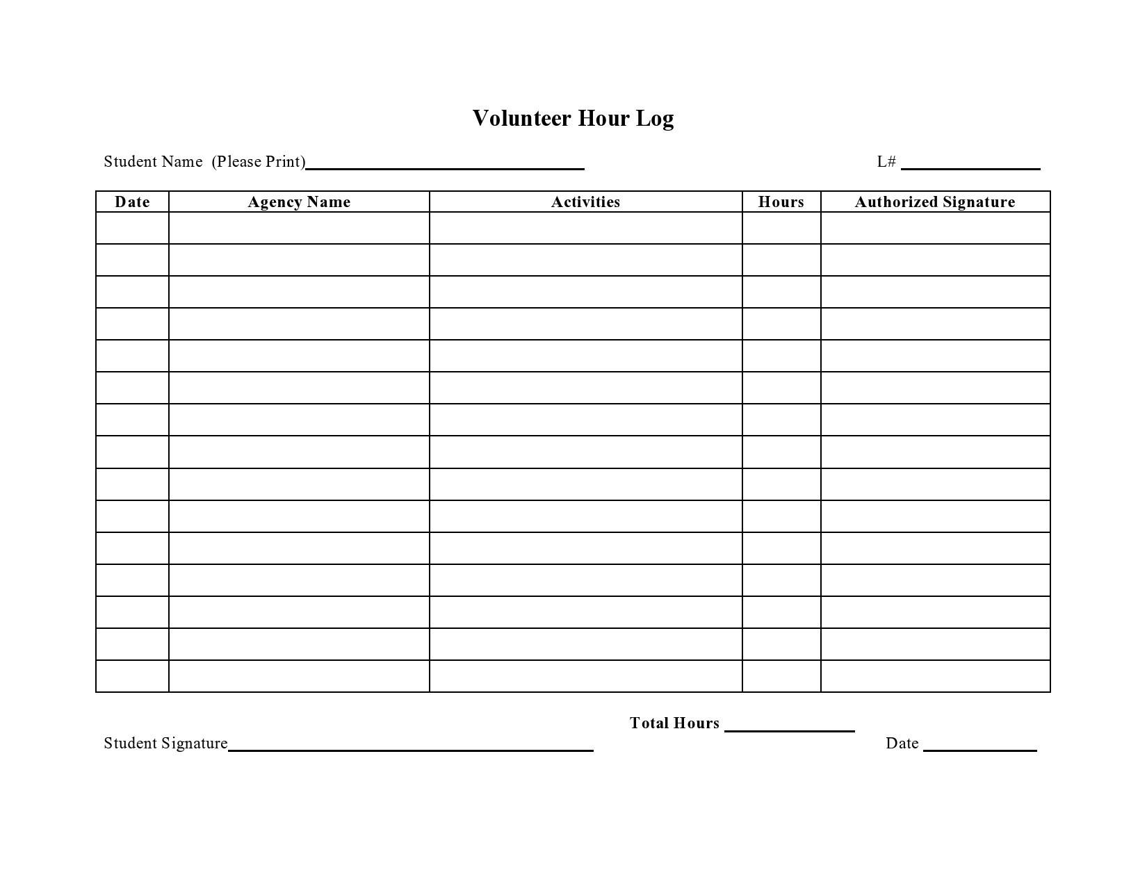 Free volunteer hours log 05