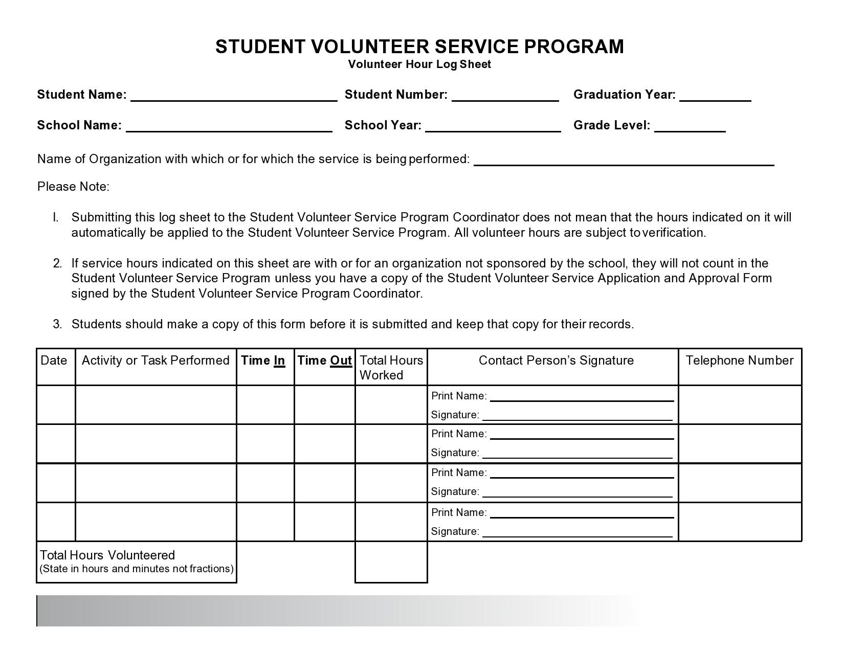 Free volunteer hours log 09